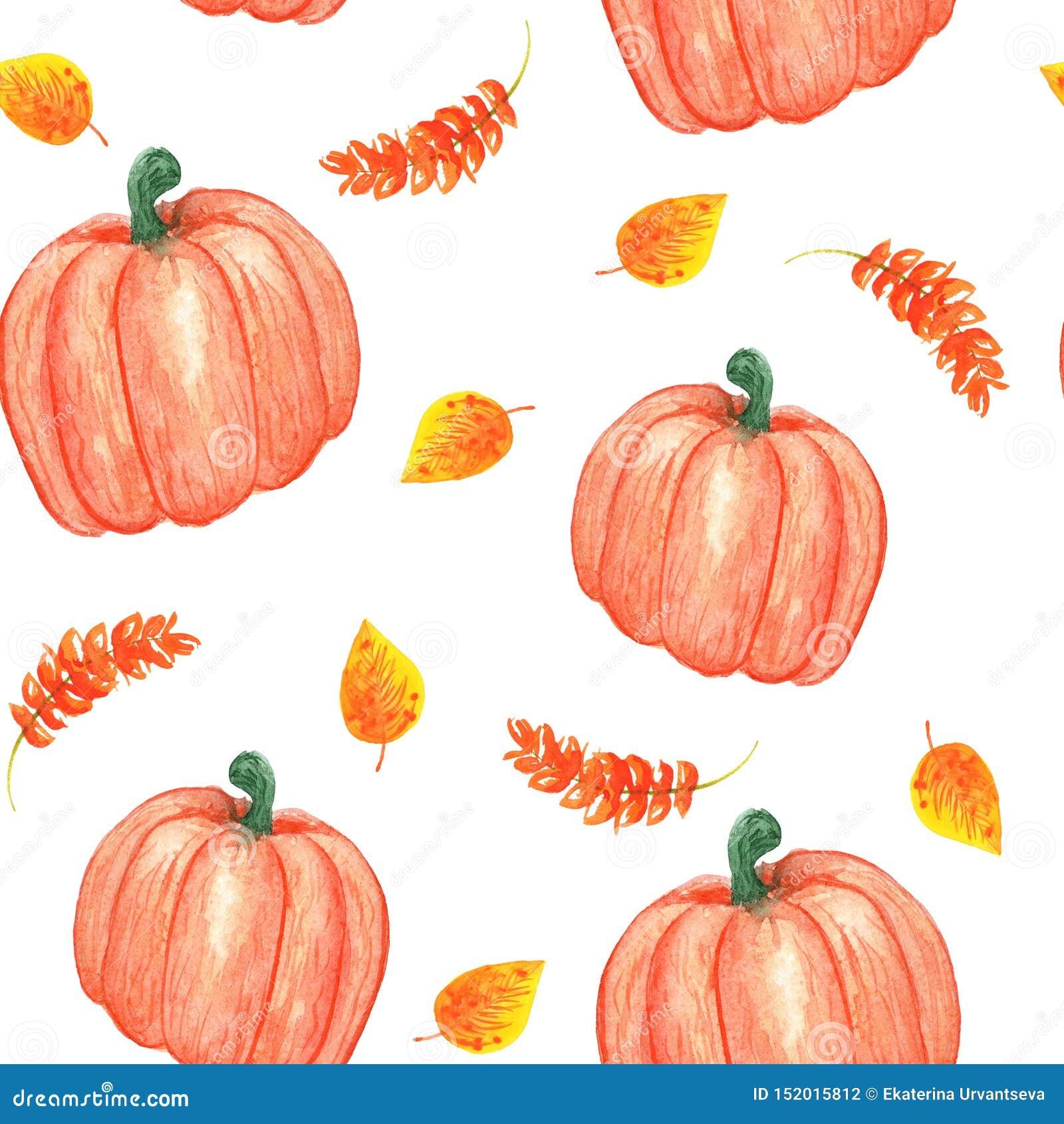 R 无缝的秋天样式用南瓜和橙黄叶子