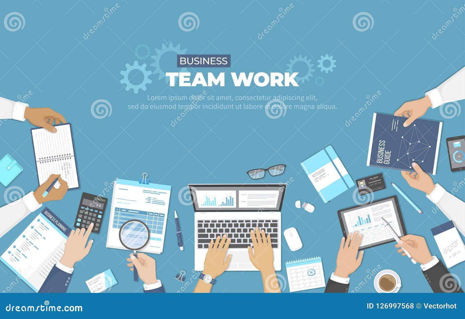 R Biuro drużyny pracy pojęcie Analiza, planowanie, konsultuje, zarządzanie projektem Businessmans