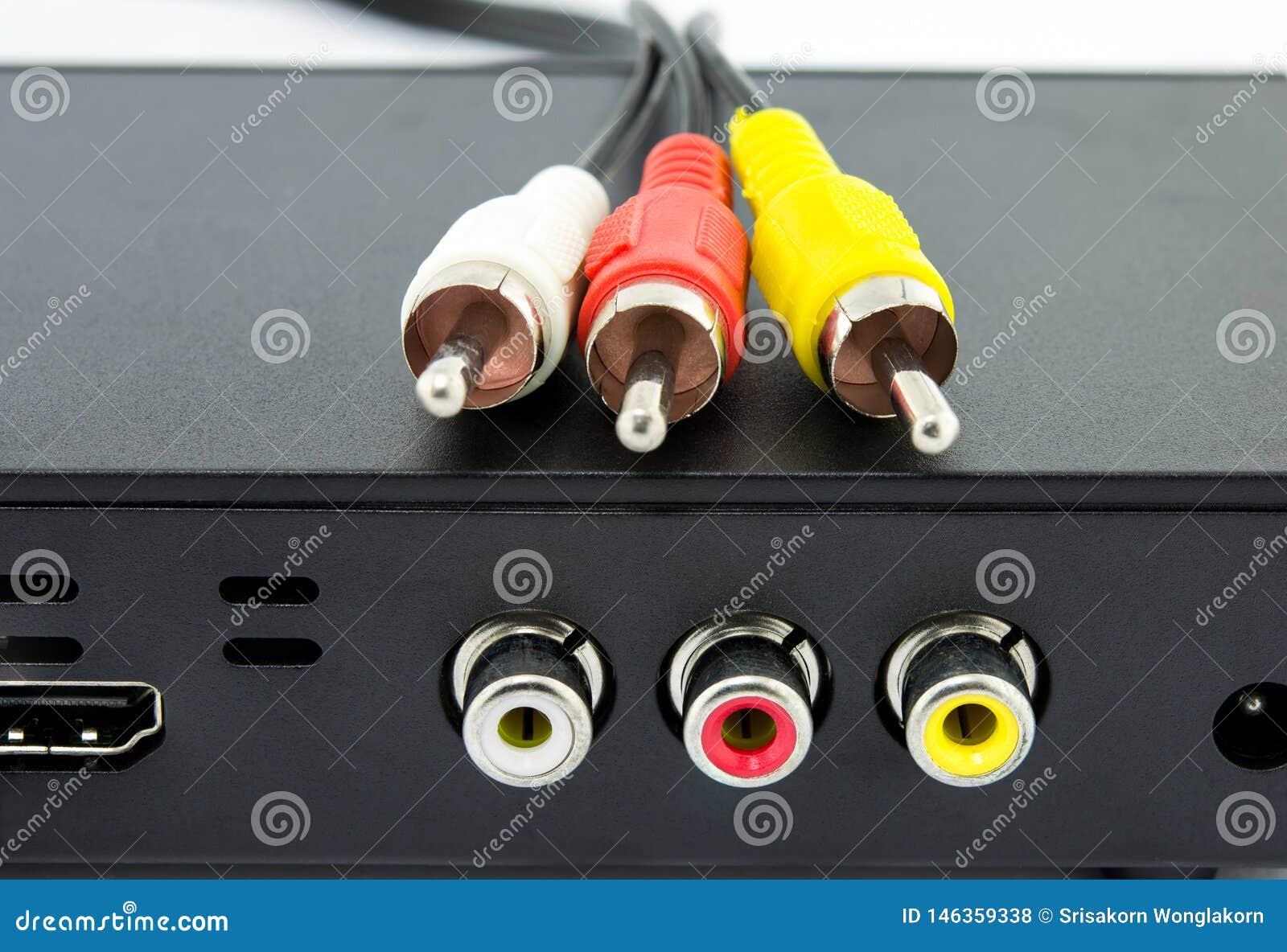 R?da och gula vita kablar f?r st?lar