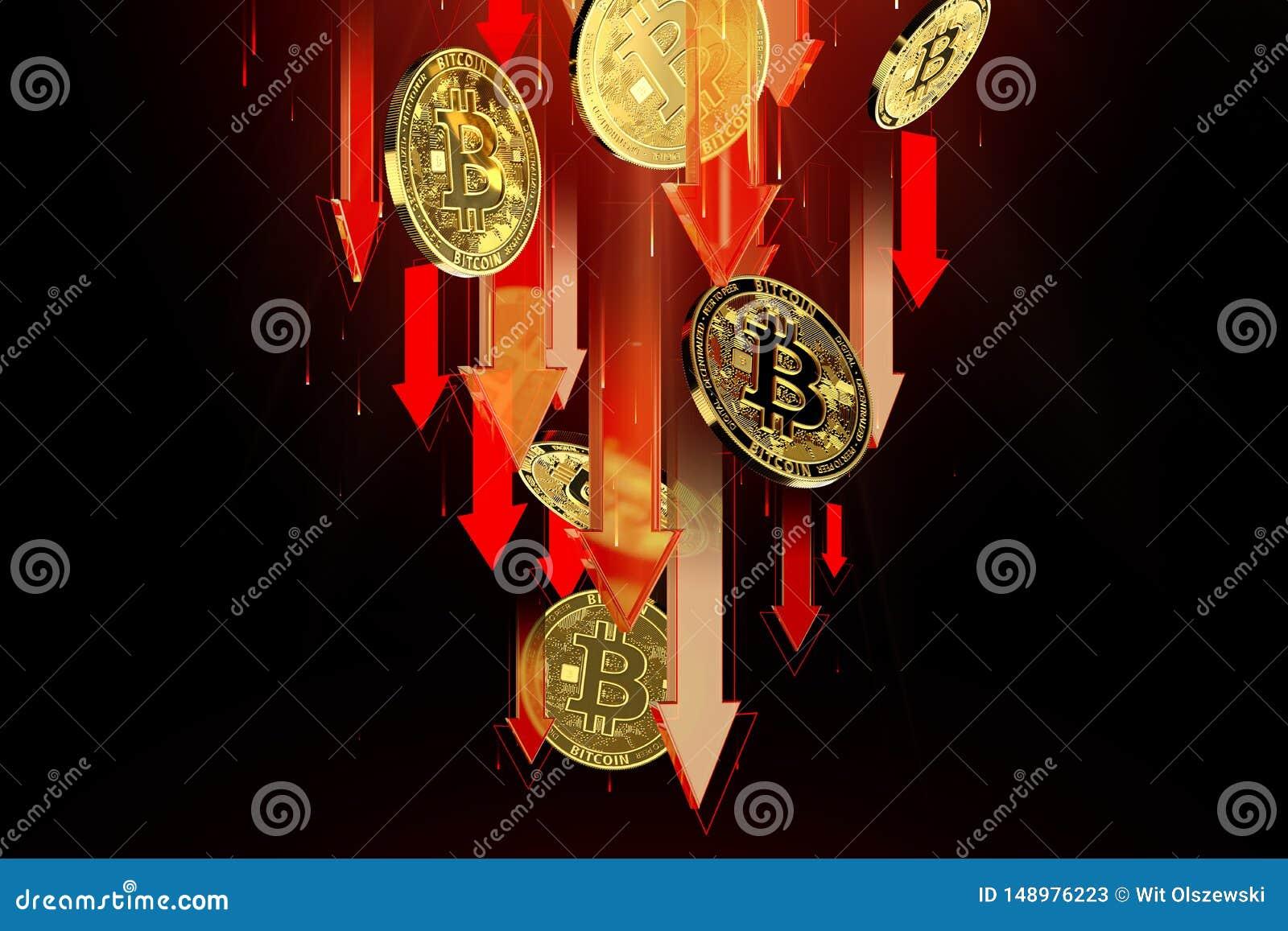 R?da pilar som ner pekar som Bitcoin BTC prisnedg?ngar Cryptocurrency priser g?r ned, det h?ga - risken - h?ga f?rlustbegreppet f