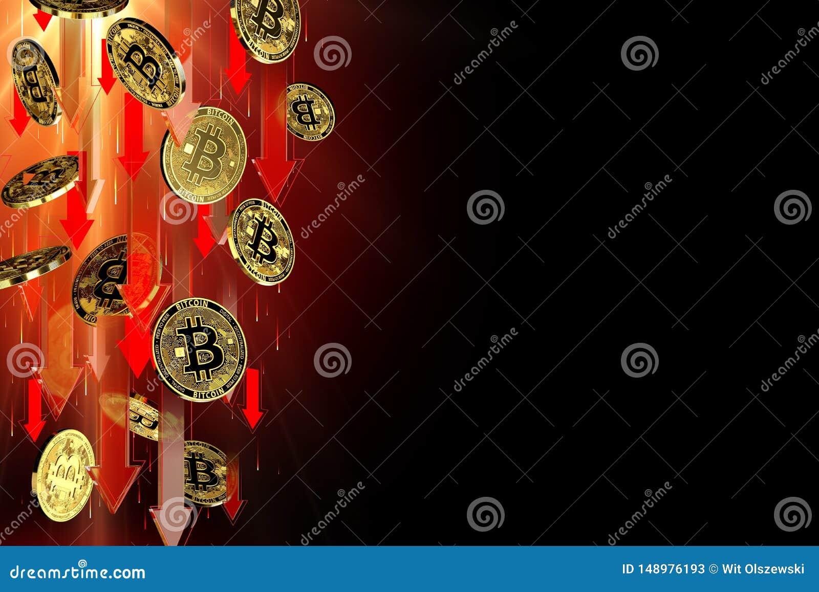 R?da pilar som ner pekar som Bitcoin BTC prisnedg?ngar Isolerat p? svart bakgrund, kopieringsutrymme Cryptocurrency prisnedg?ng