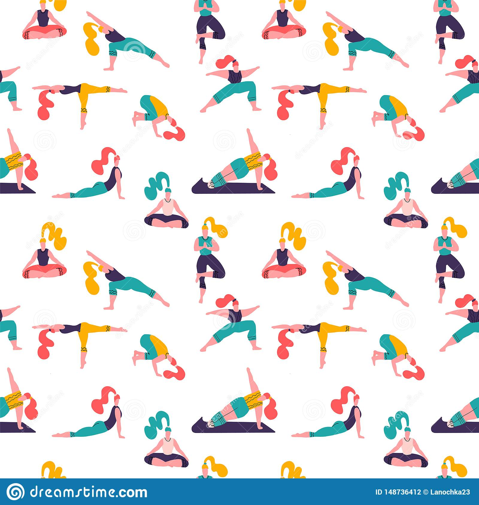 R E 与瑜伽班的传染媒介无缝的样式与人思考,做呼吸的锻炼