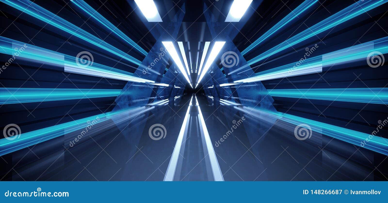 R?flexion concr?te grunge d ?tape de construction de lueur de r?tro de Sci fi futur de tunnel couloir futuriste moderne bleu somb