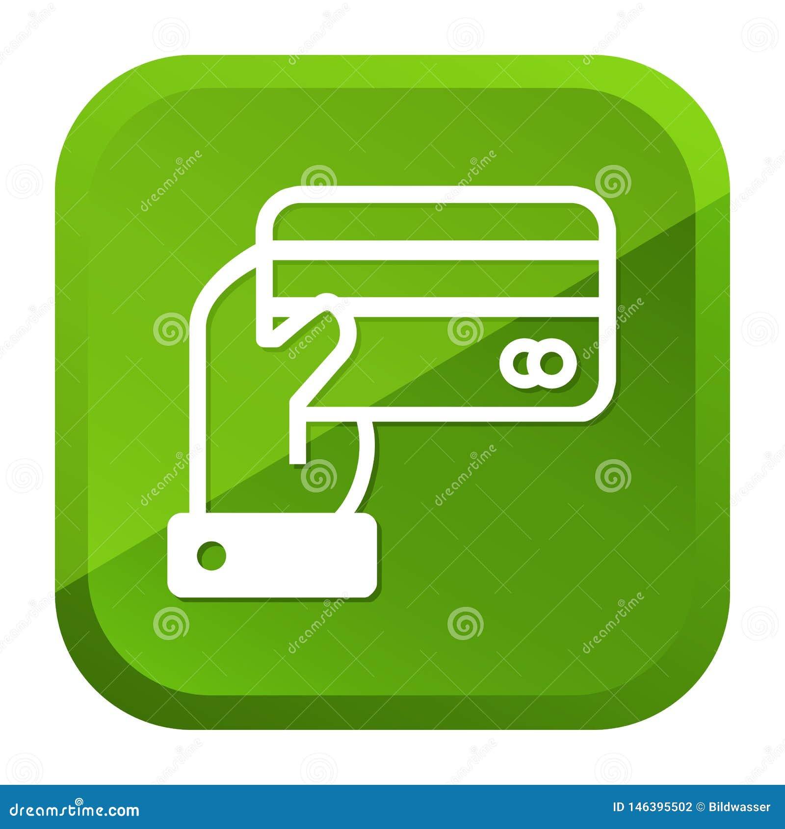 R?ka trzyma kredytowej karty ikon? zielony przycisk Eps10 Wektor