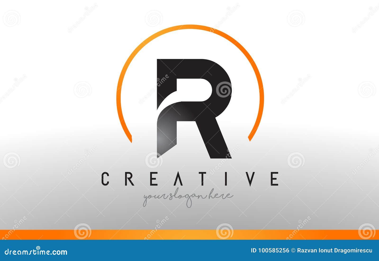 R Letter Logo Design With Black Orange Color  Cool Modern