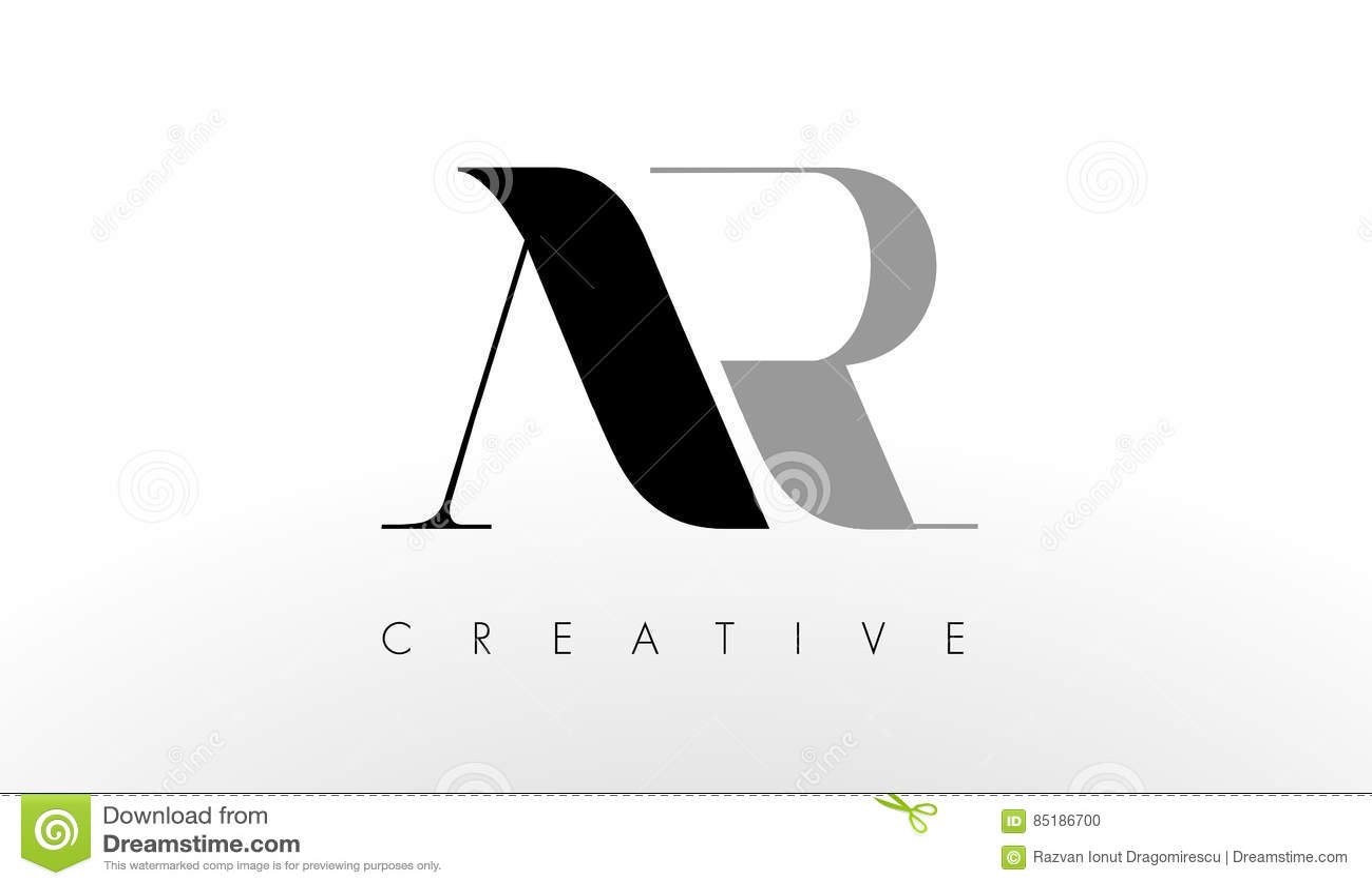 a r letter logo design creative ar letters icon stock vector