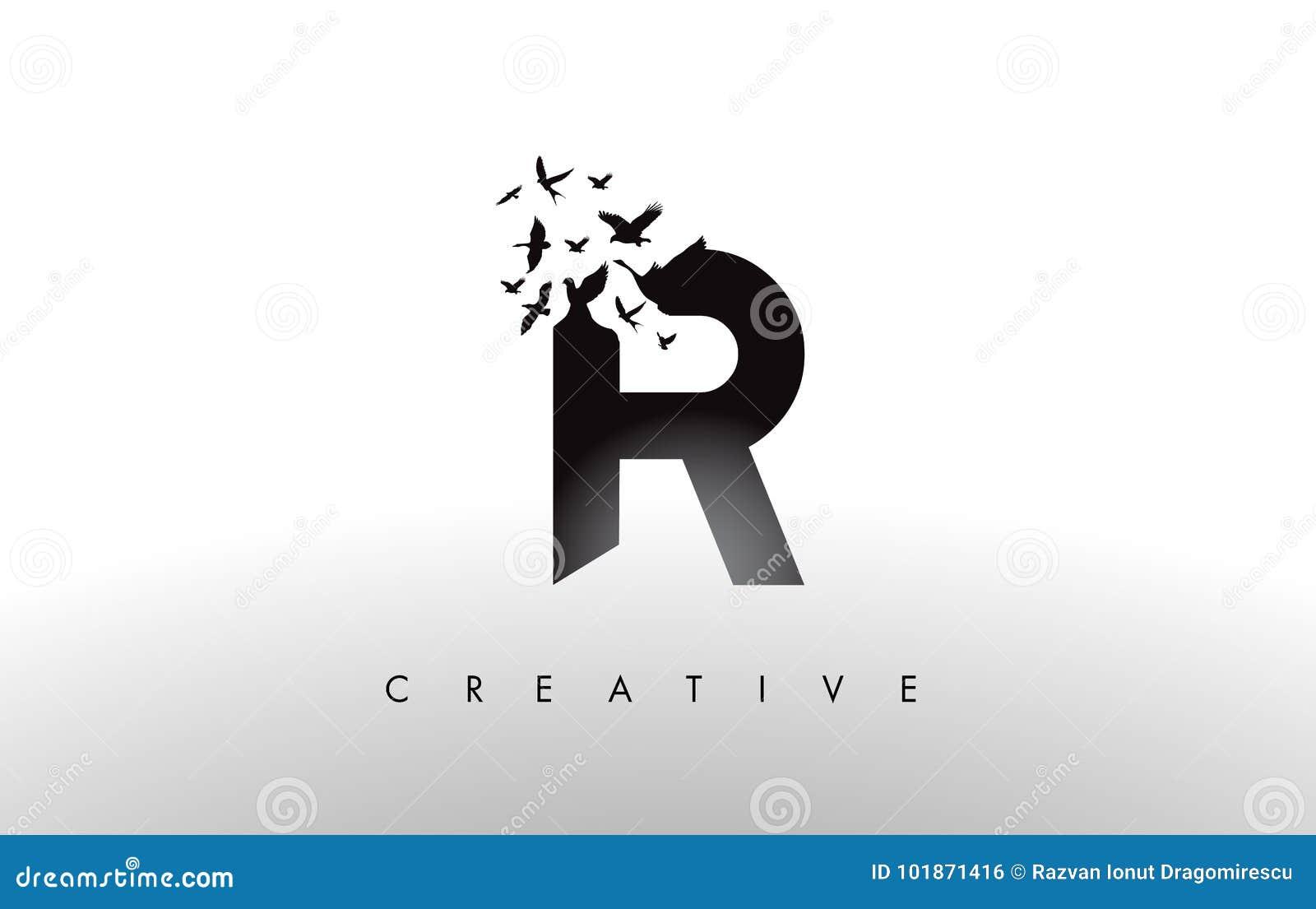R Logo Letter avec la volée des oiseaux volant et se désagrégeant de