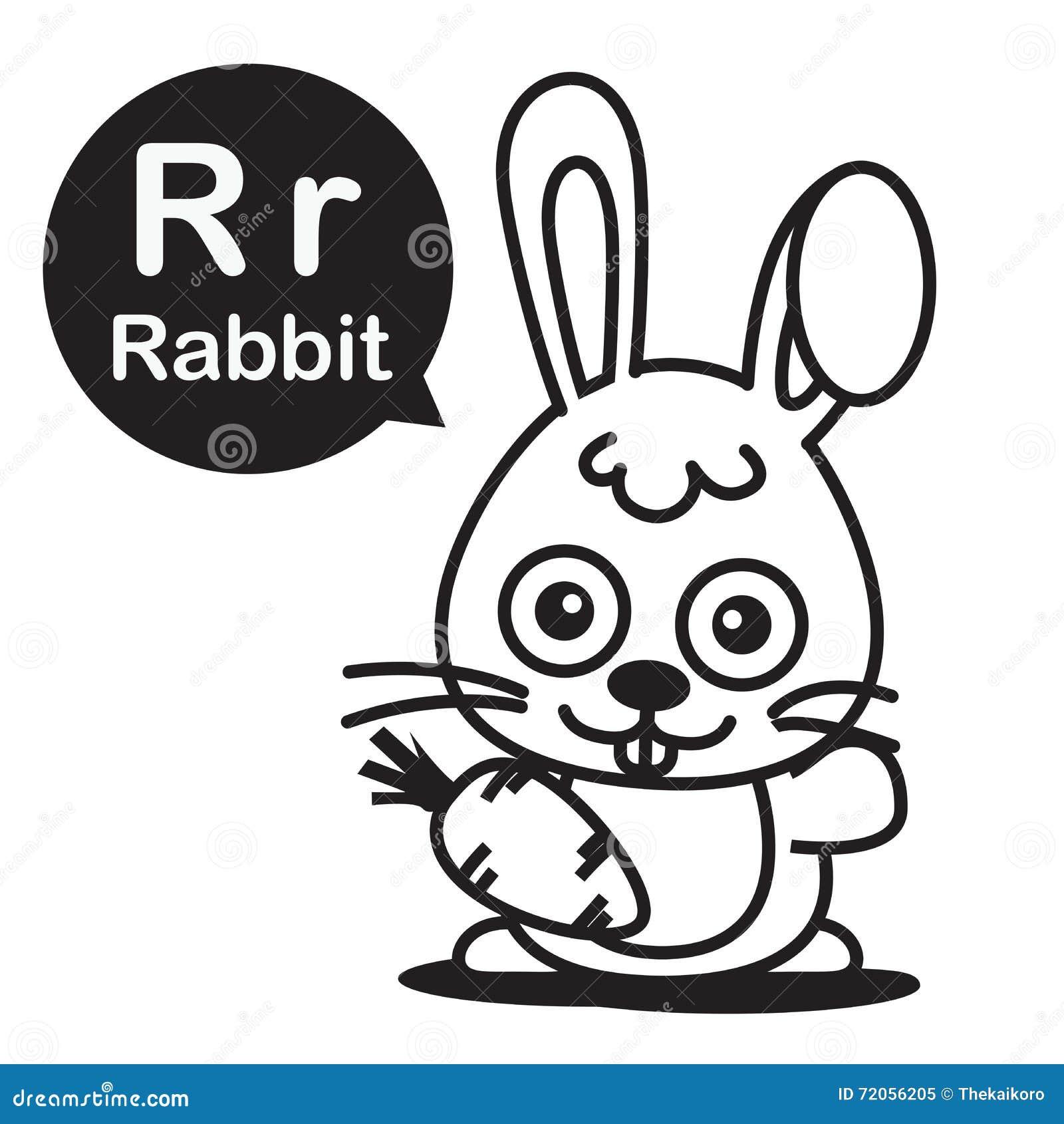 Color book rabbit - Alphabet Animal Cartoon Coloring Illustration Rabbit