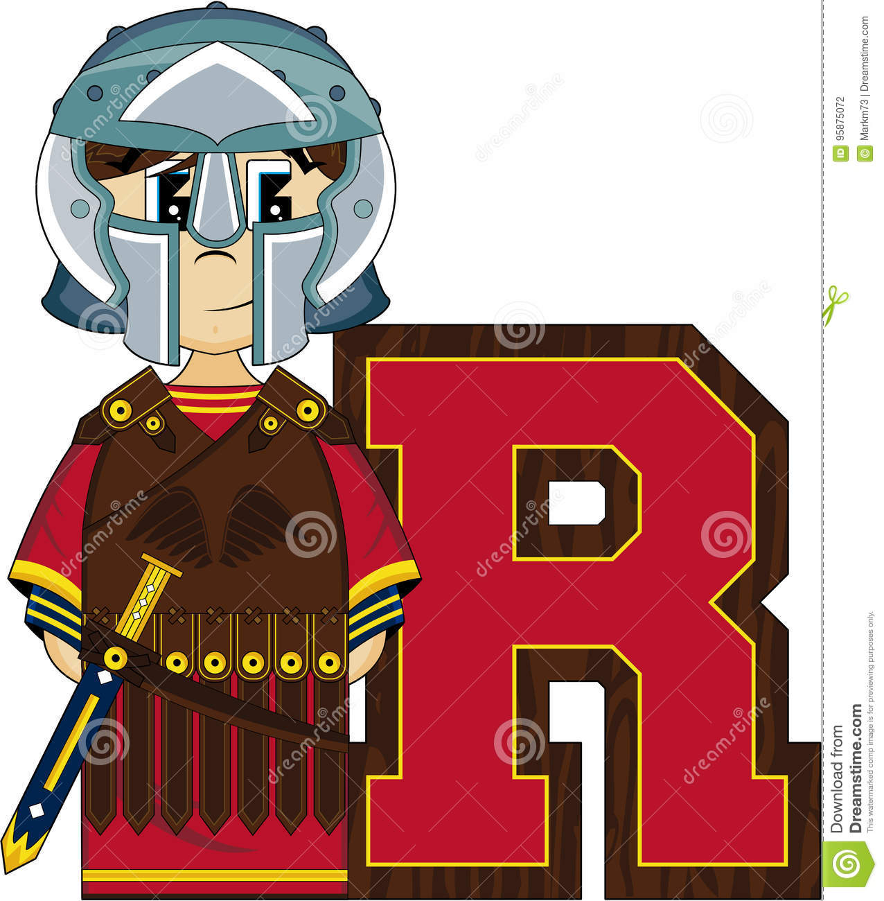 Cartoon vector illustration of a cute cartoon roman centurion soldier alphabet leaning illustration an eps file is also available