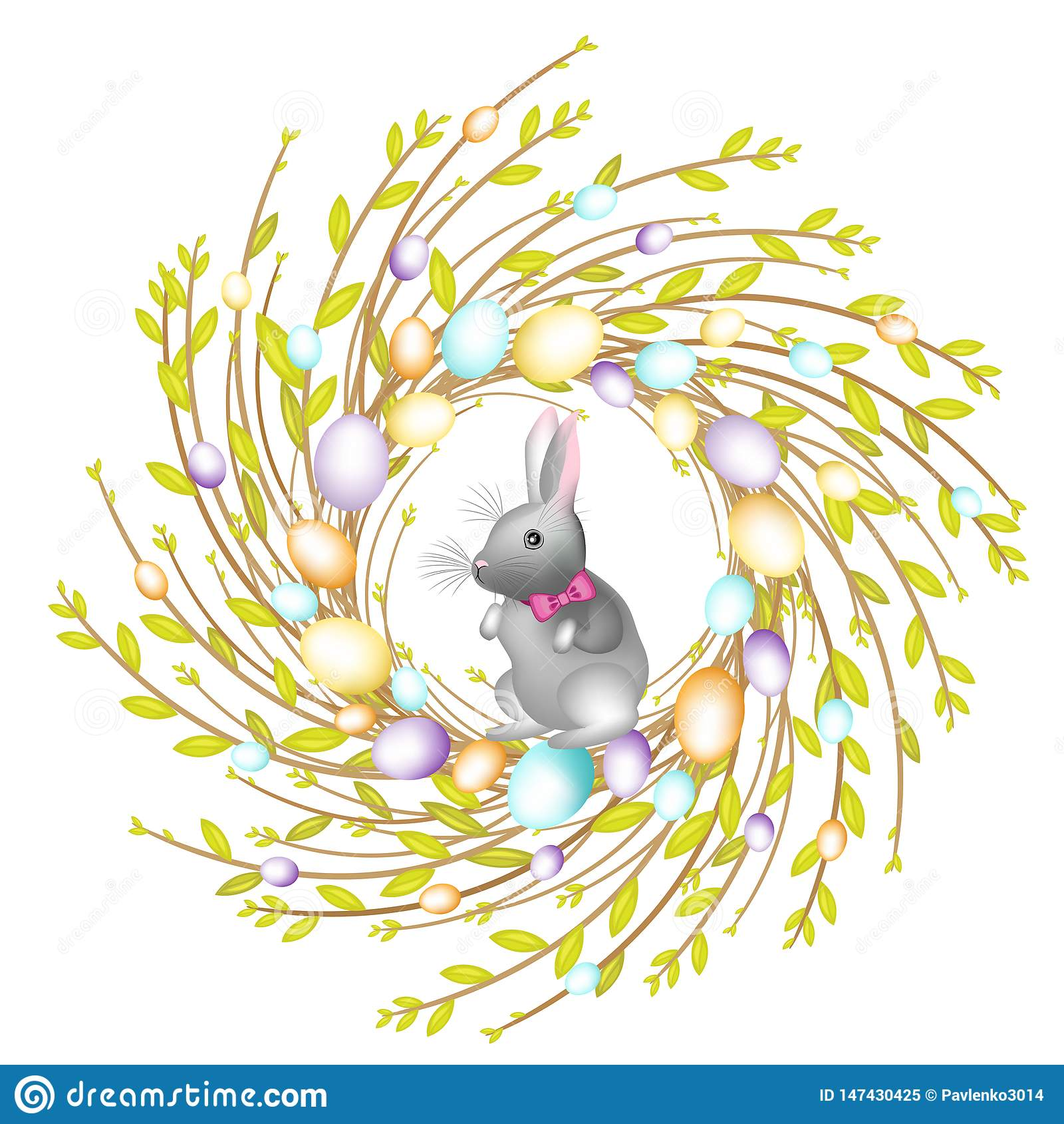 R Sk?ad dekoruje z pi?knymi Wielkanocnymi jajkami W?rodku jest kr?lik Symbol wiosna