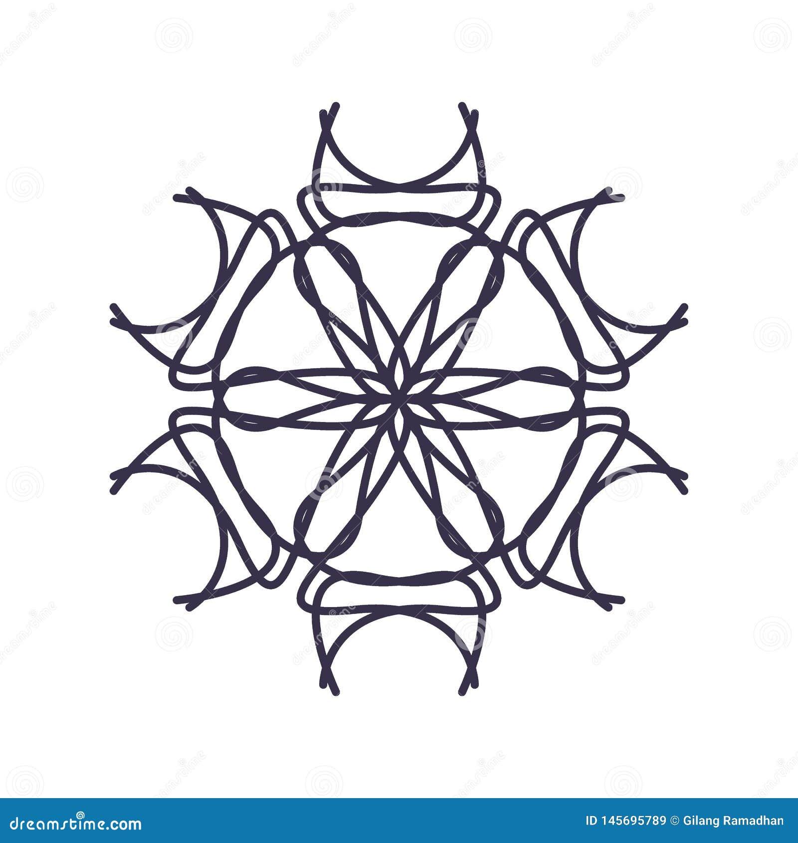 R?sum? Mandala Geometry Outline pour la d?coration ou le tatouage