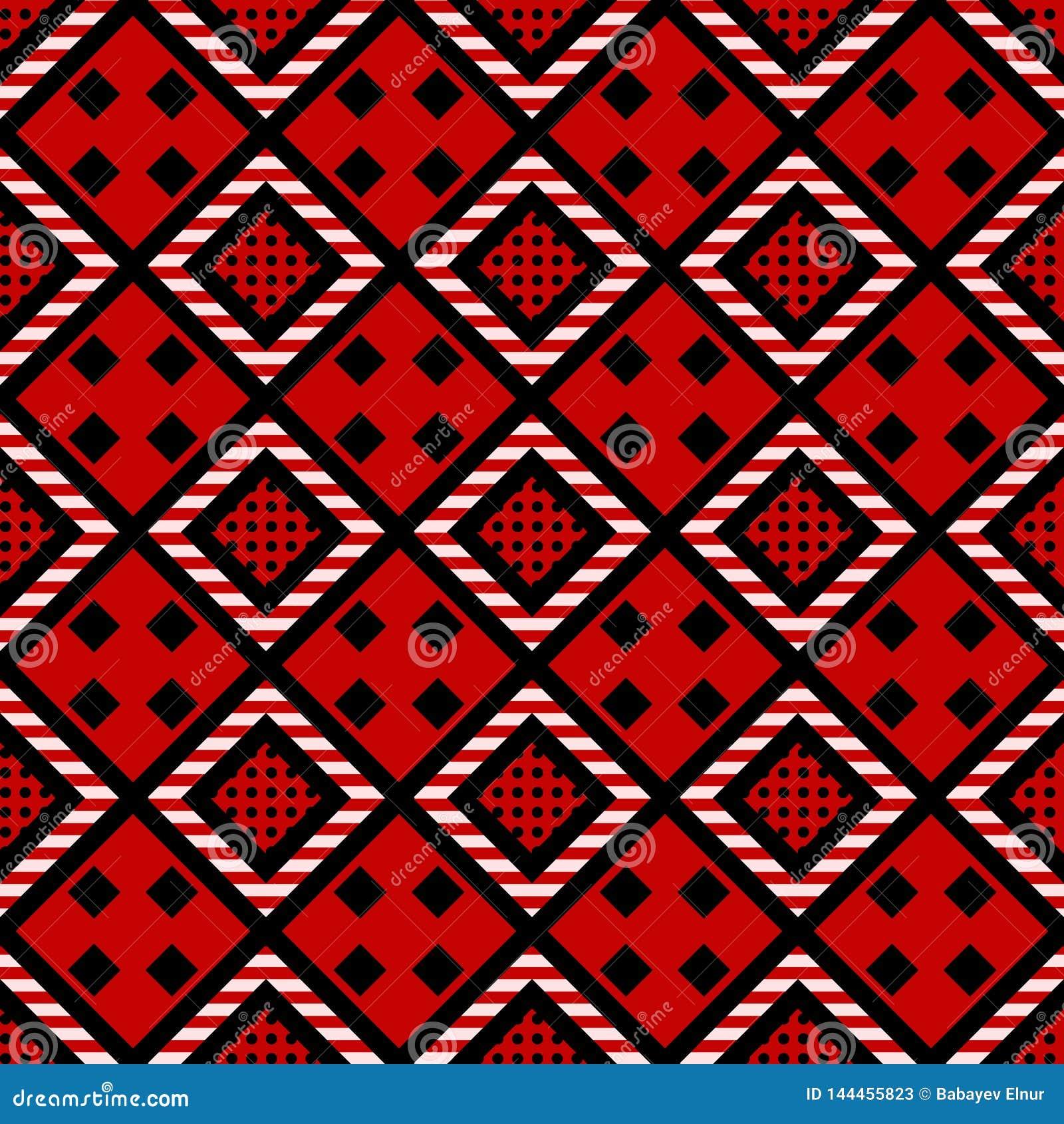 R Textura tribal abstracta Rhombus negro, blanco en fondo decorativo rojo
