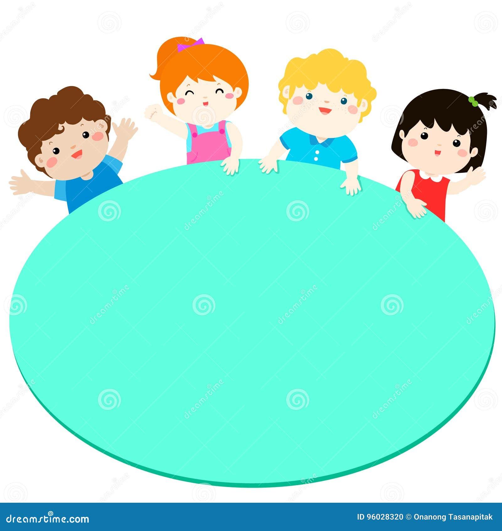 Rabatowy szablon z szczęśliwymi dzieciakami