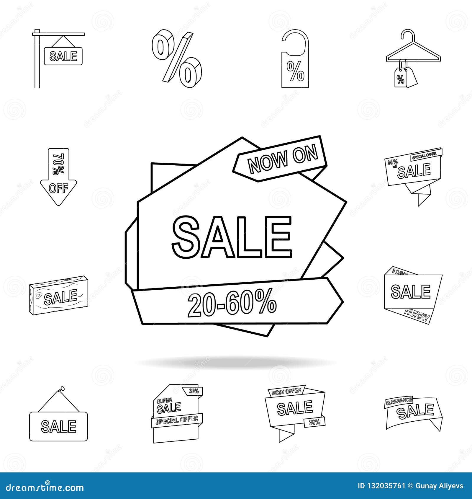 20-50 Rabatt auf der Bandikone Ausführlicher Satz Räumungsverkaufikonen Erstklassiges Grafikdesign Eine der Sammlungsikonen für