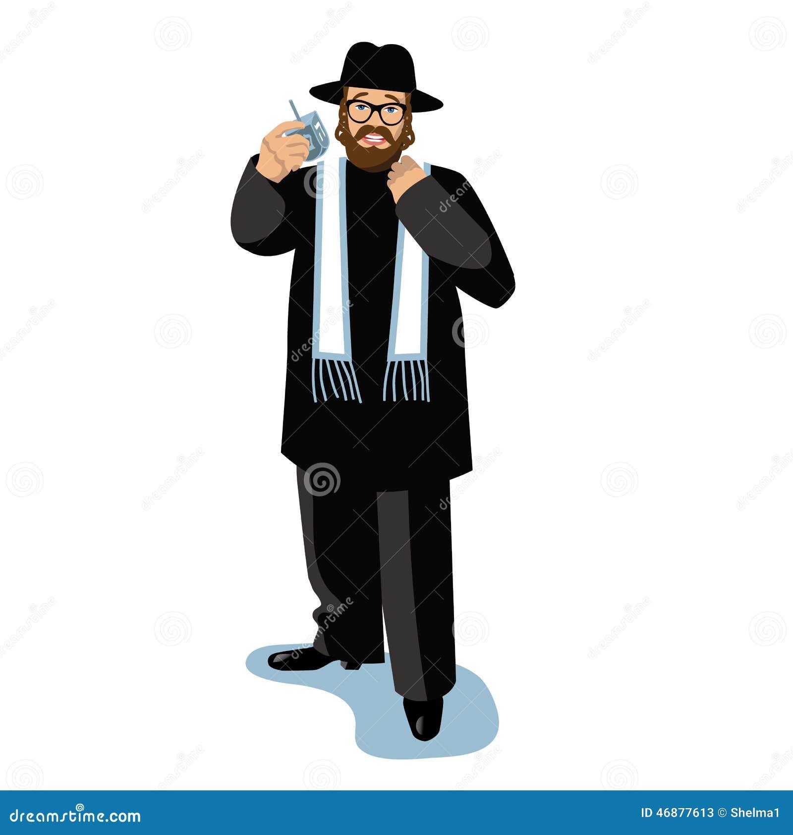 Rabbin jugeant un dreidel d isolement sur le blanc dans la scène neigeuse