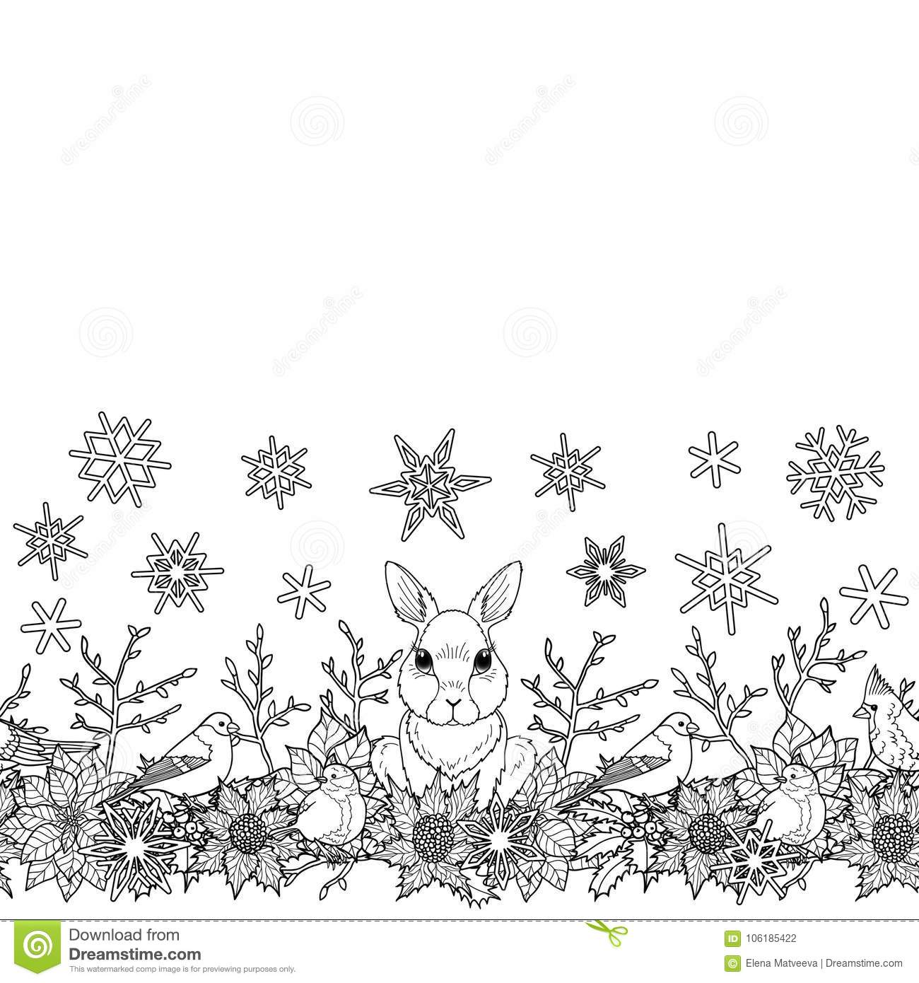 b5fb42b4168 Rabbit and bird seamless horizon border. Winter square new year black and  white wallpaper for greeting cards