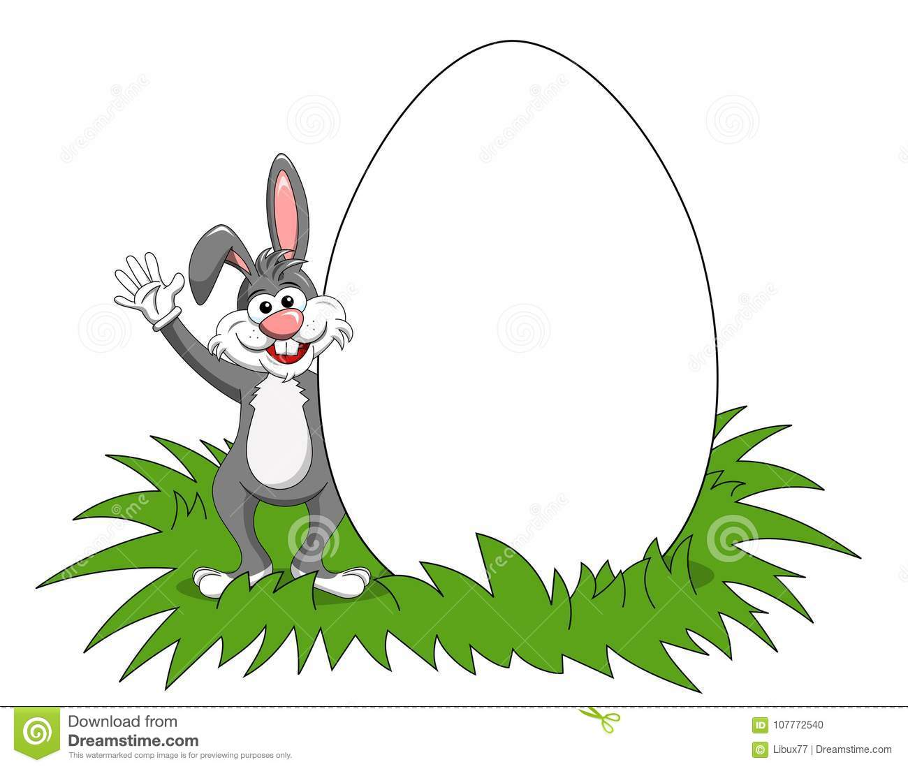 Rabbit or bunny blank copy space big egg isolated