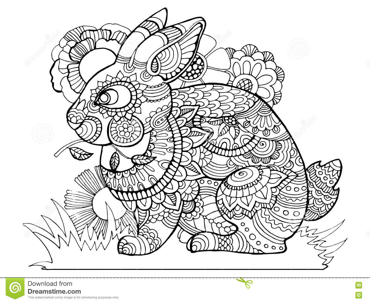 Rabbit Bunny Coloring Book For Adults Vector Stock Vector ...