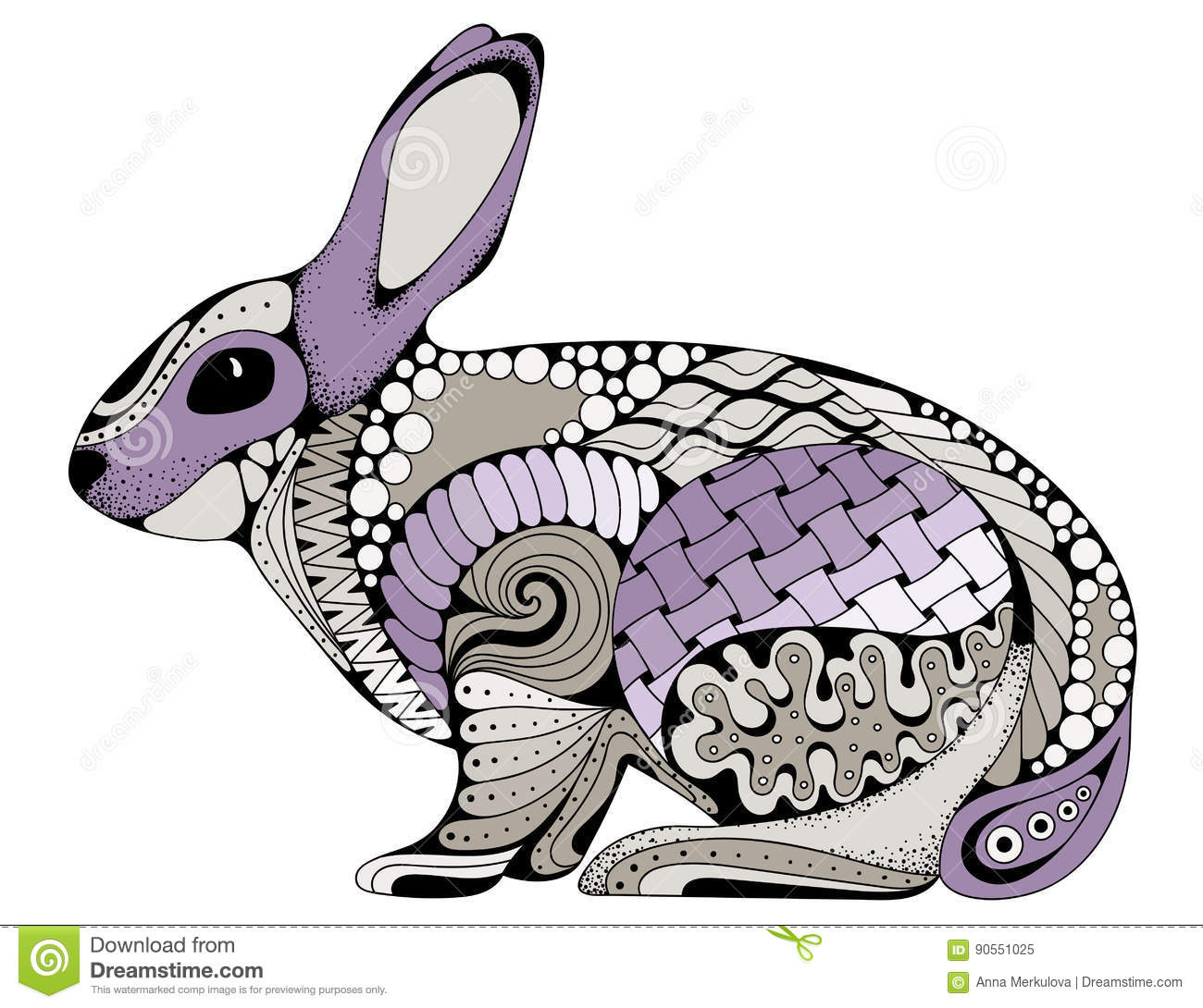 Rabbit Bunny Coloring Book For Adults Vector Illustration. Stock ...