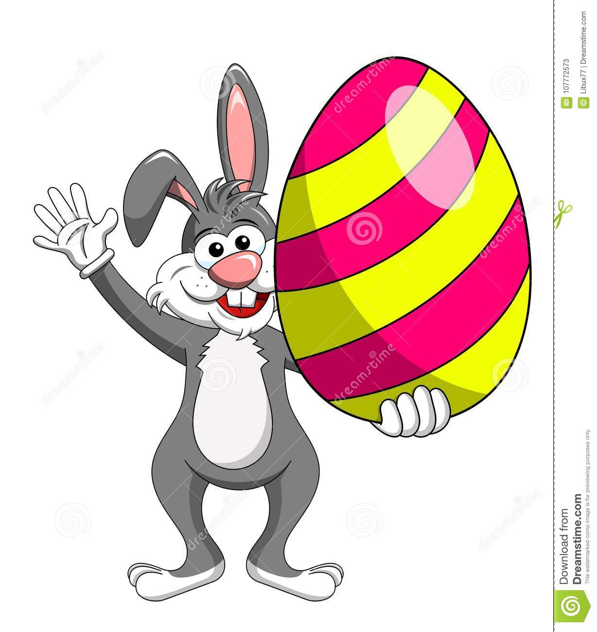 Rabbit or bunny holding colorful big egg isolated