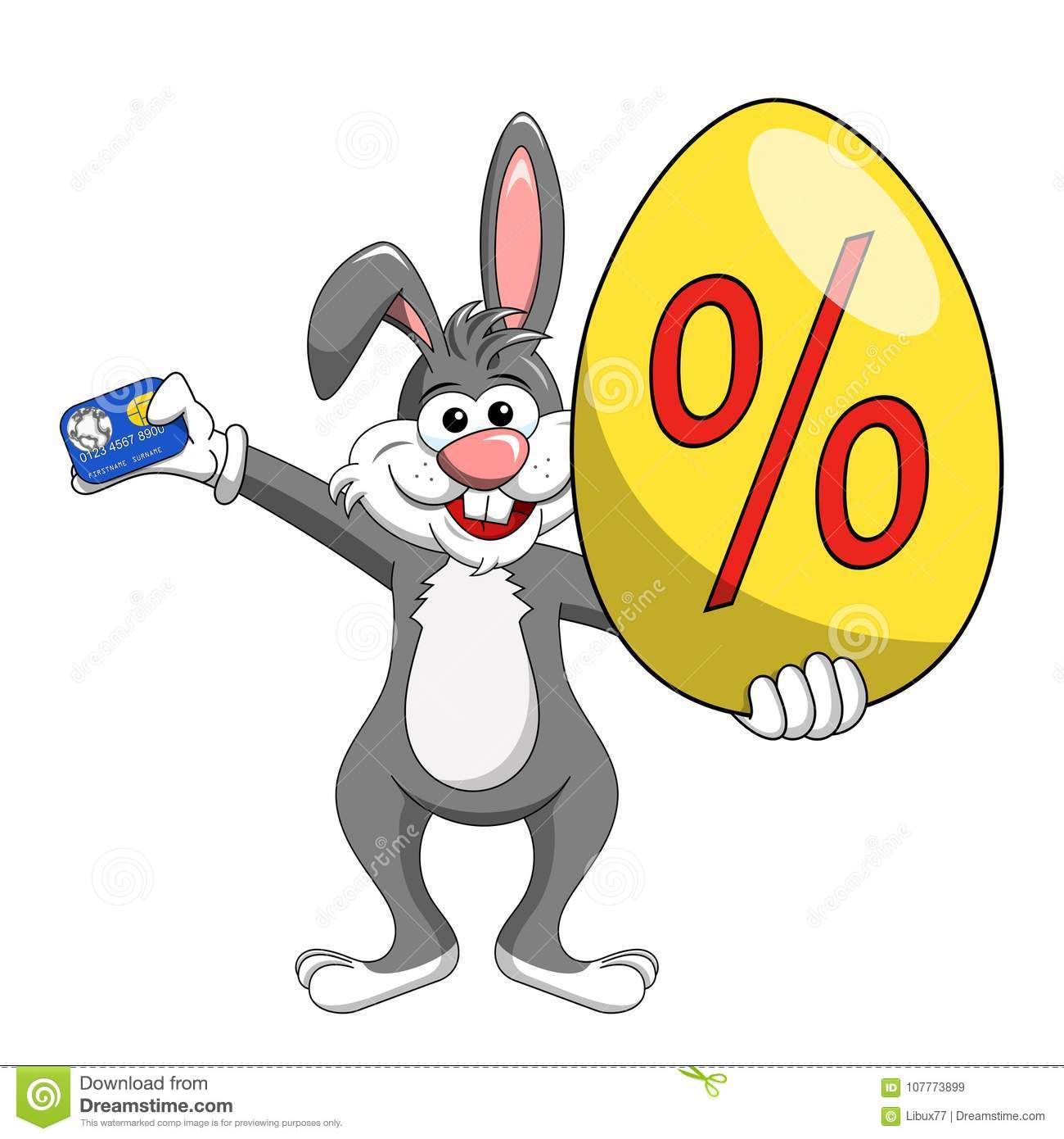 Rabbit or bunny holding discount or off big egg and credit card