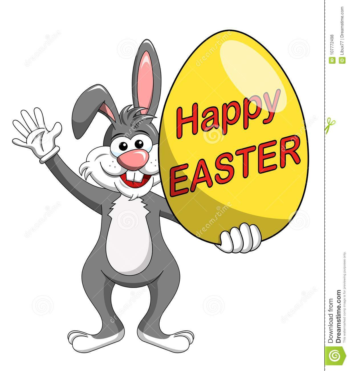 Rabbit or bunny holding happy easter big egg isolated
