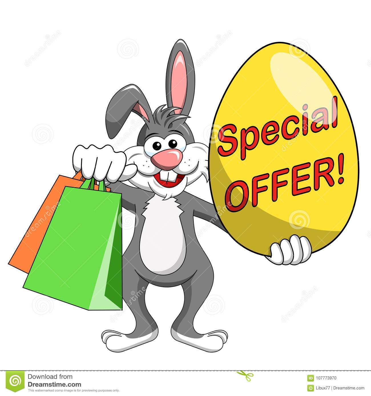 Rabbit or bunny holding special offer big egg and shopping bags