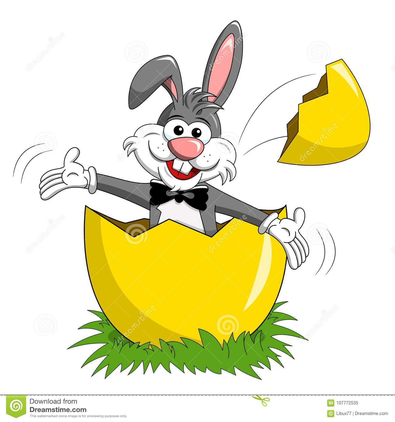 Rabbit or bunny popping up big egg isolated