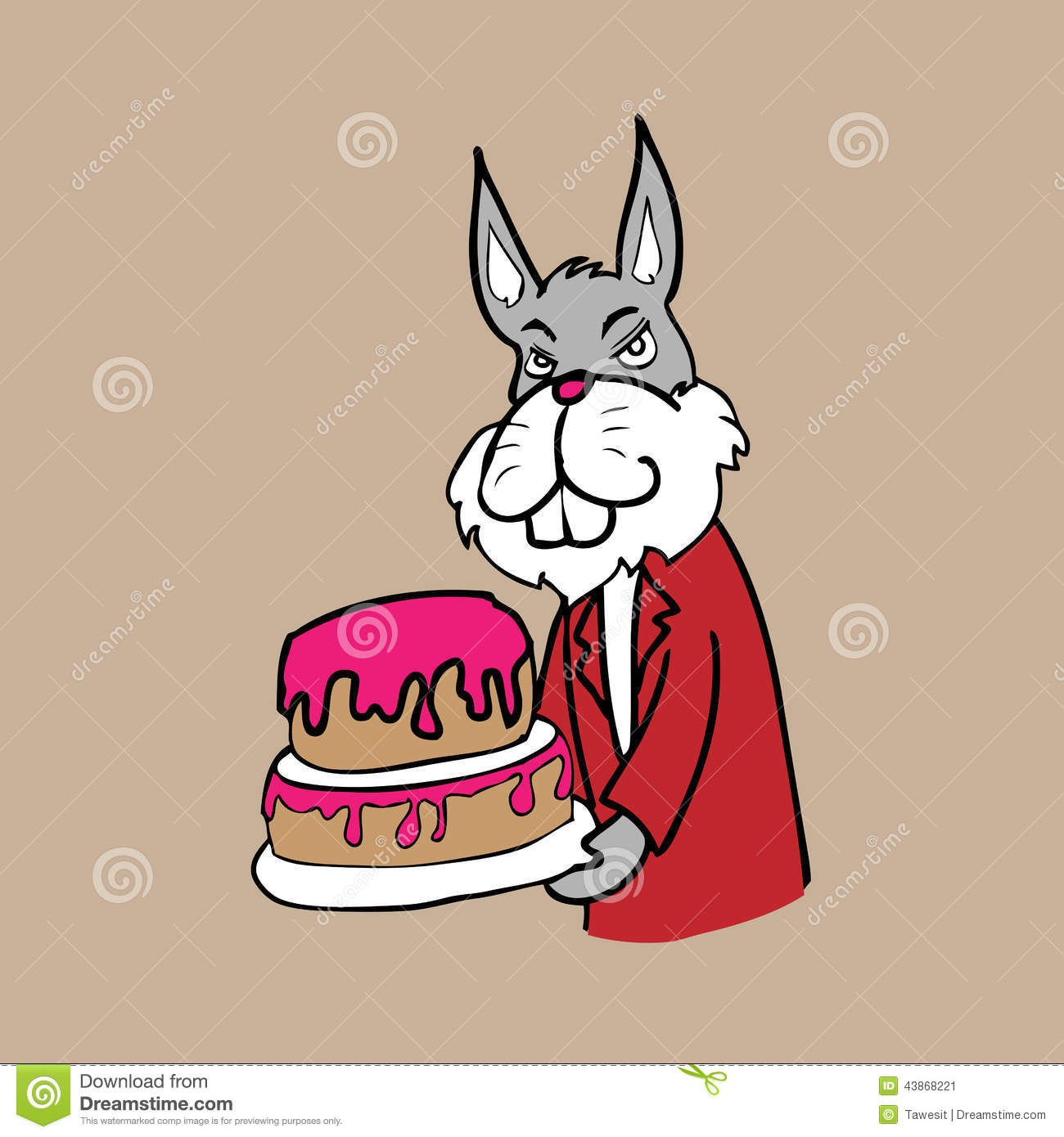 Cartoon Character Design For Cake : Rabbit and cake stock illustration image