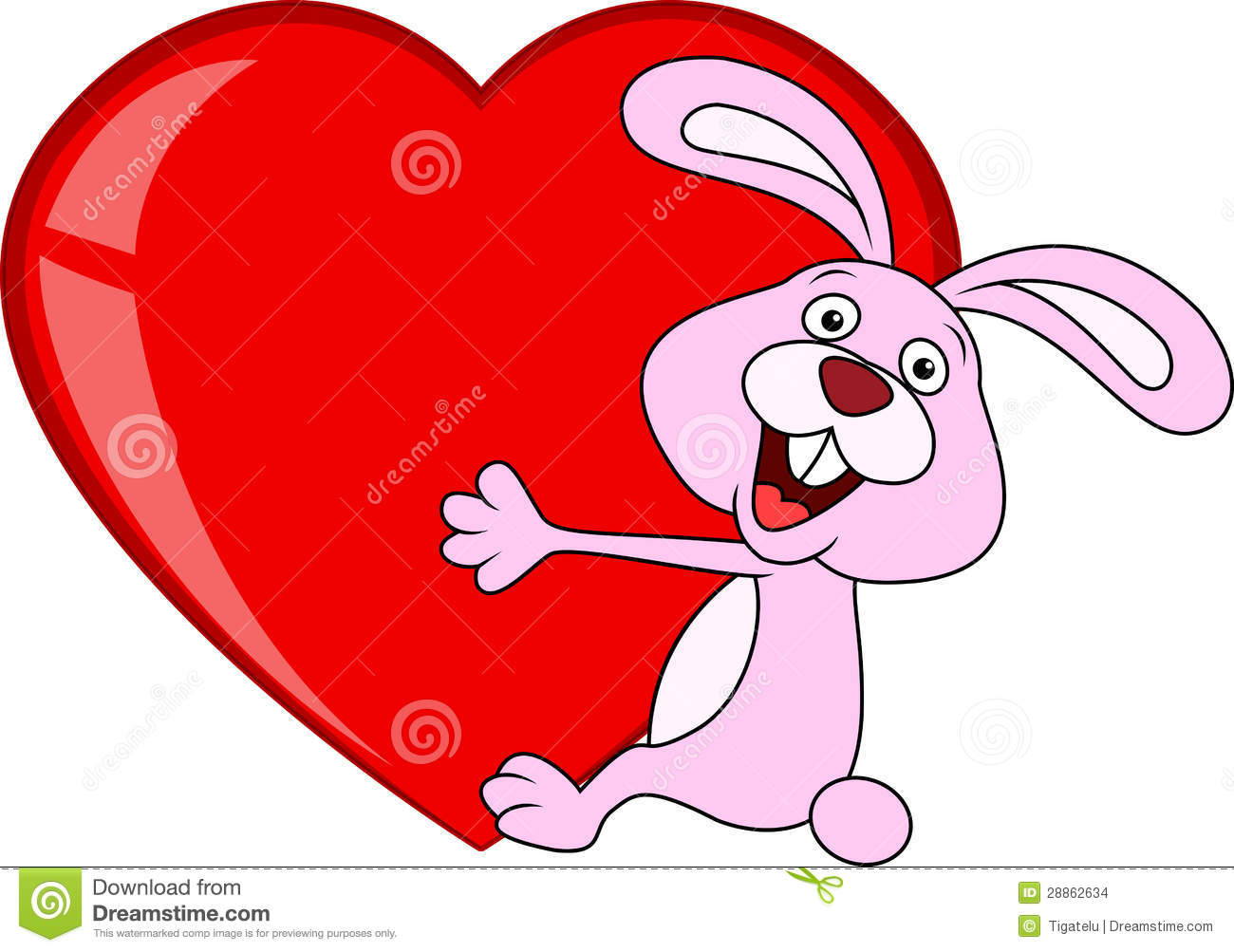 Rabbit Cartoon With Love Heart Stock Vector - Image: 28862634