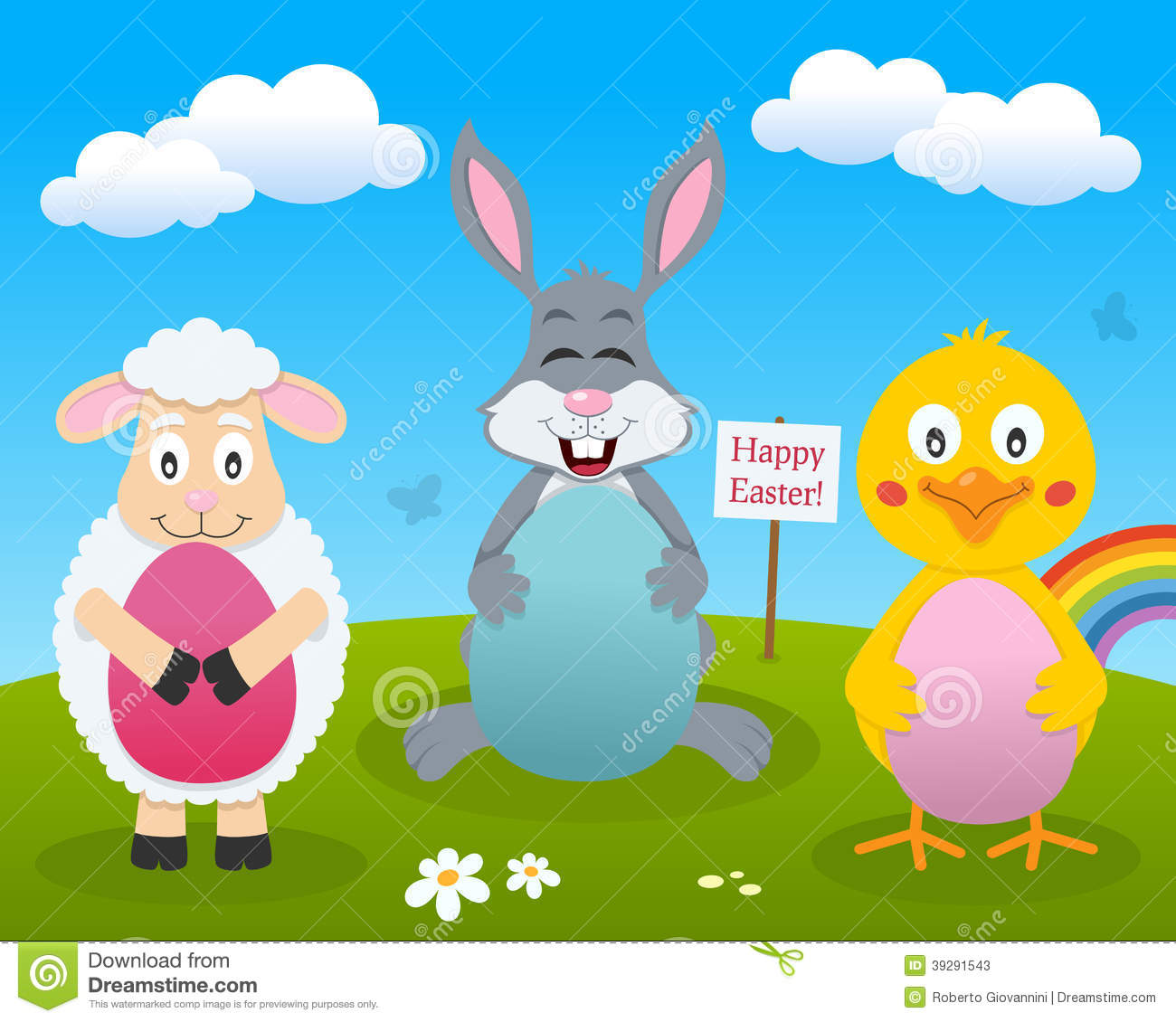 Rabbit, Chick & Lamb With Easter Eggs Stock Vector - Image: 39291543