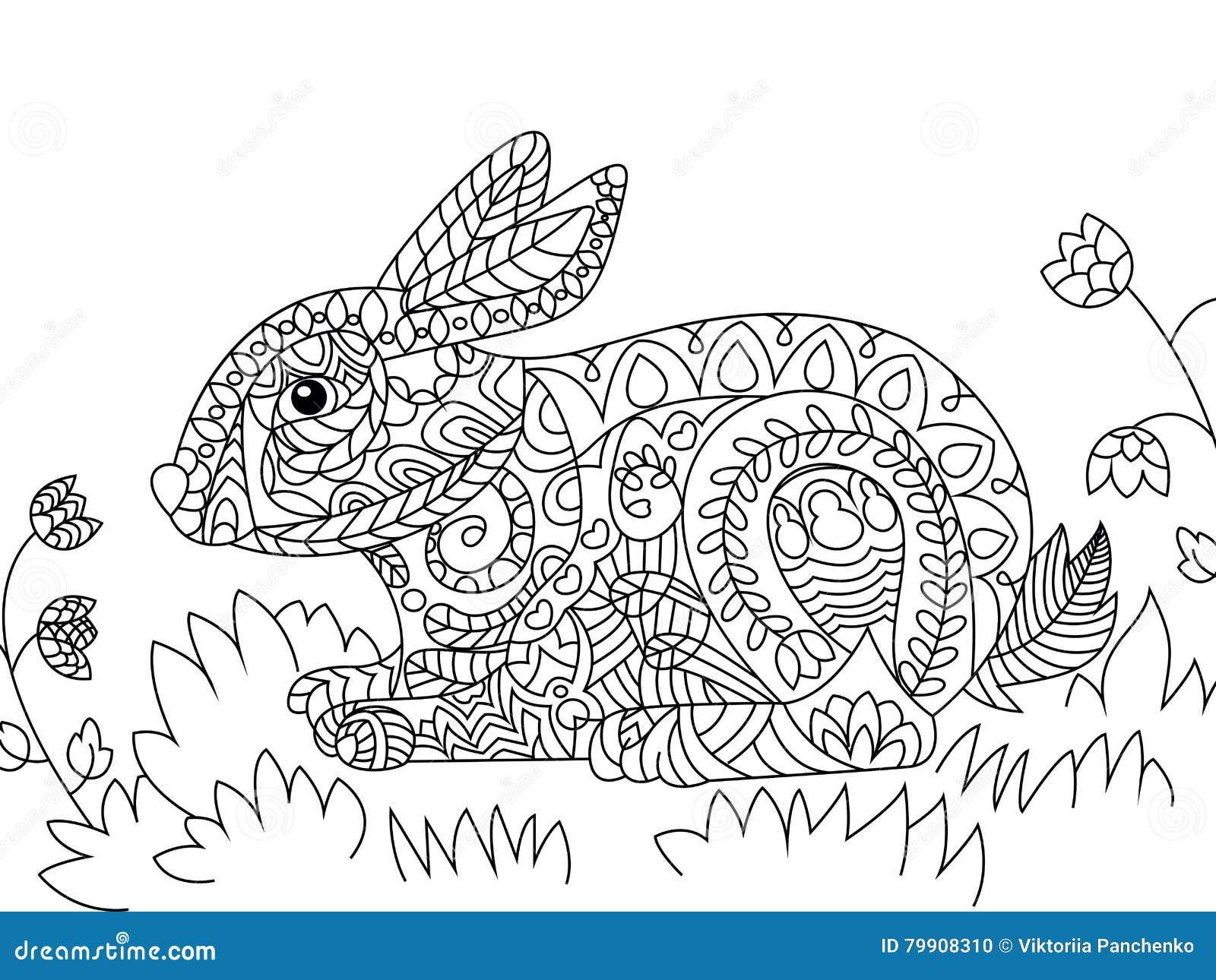 Mandalas De Animales Para Pintar Abstracto Pintar Tattoo: Rabbit Coloring Vector For Adults Stock Vector