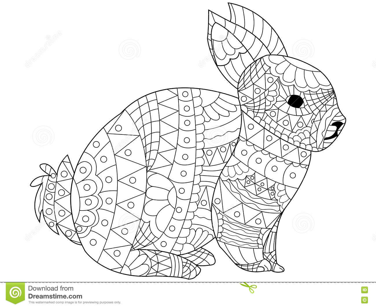Rabbit Coloring Vector For Adults Stock Vector