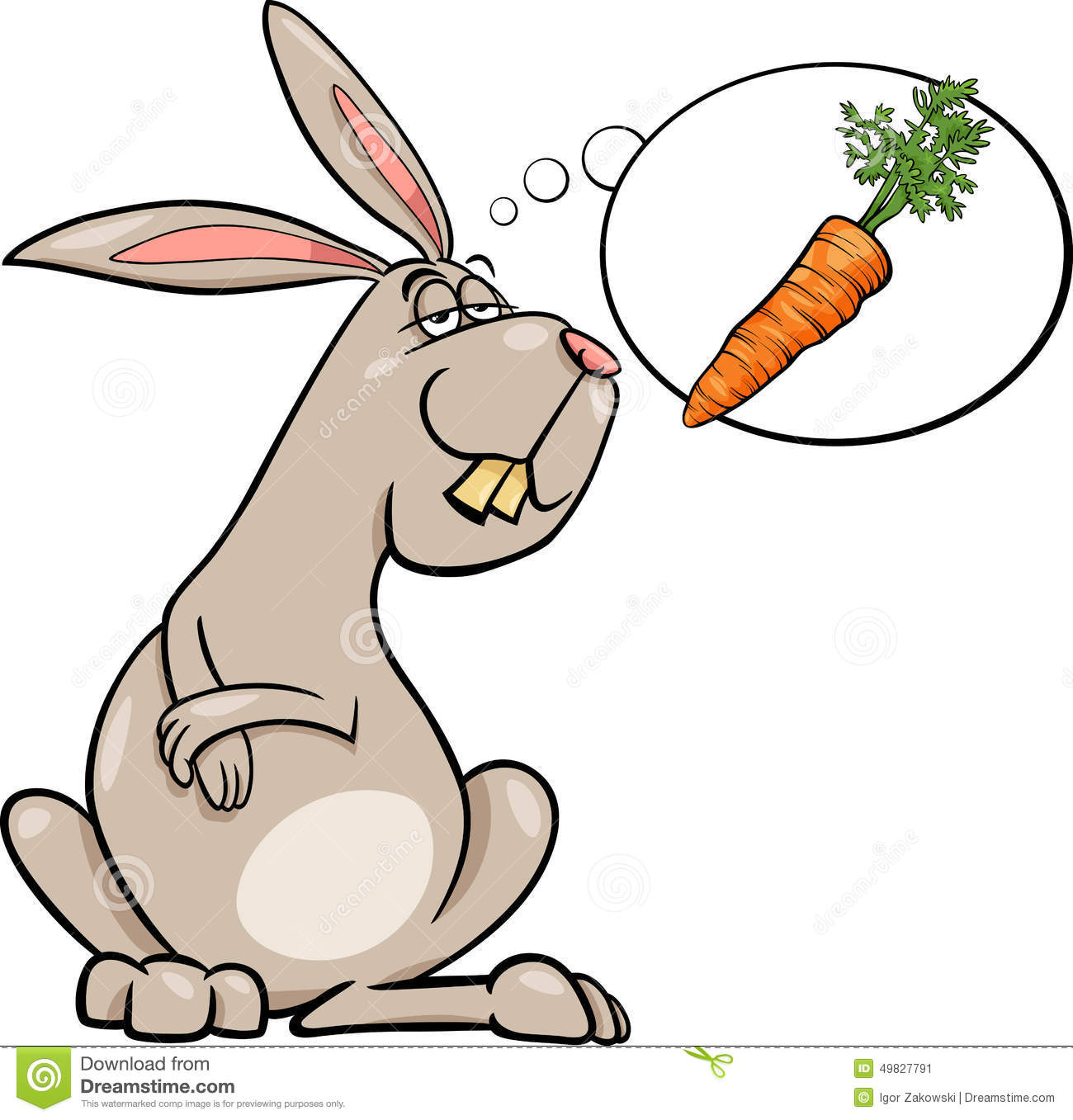 Rabbit Dream About Carrot Cartoon Stock Vector - Image: 49827791