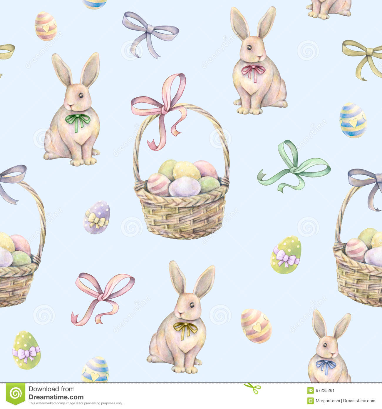 Rabbit With Easter Basket On A Blue Background Color Eggs Watercolor Drawing Handwork Seamless Pattern