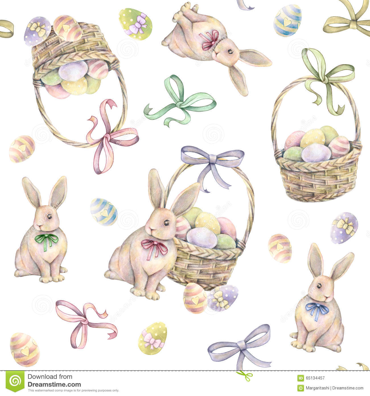 Rabbit with Easter basket on a white background. Color Easter eggs. Watercolor drawing. Handwork. Seamless pattern