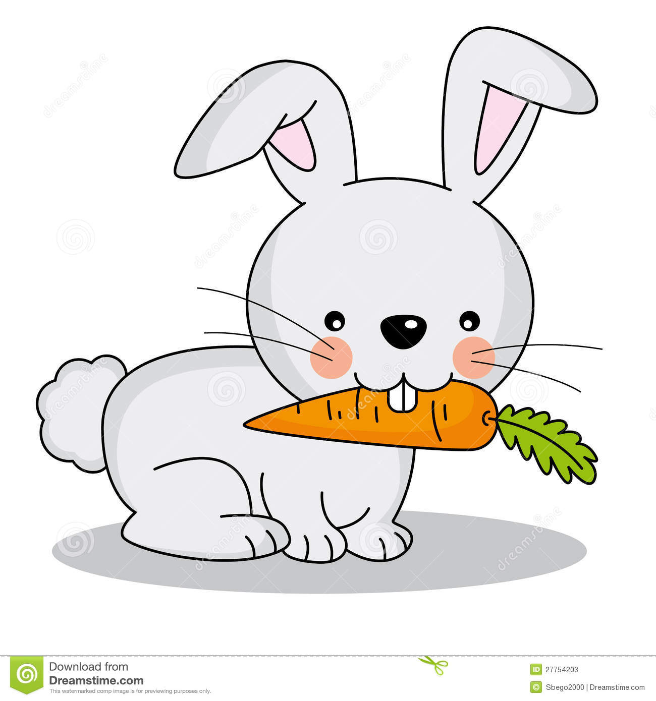 rabbit eating a carrot stock vector illustration of