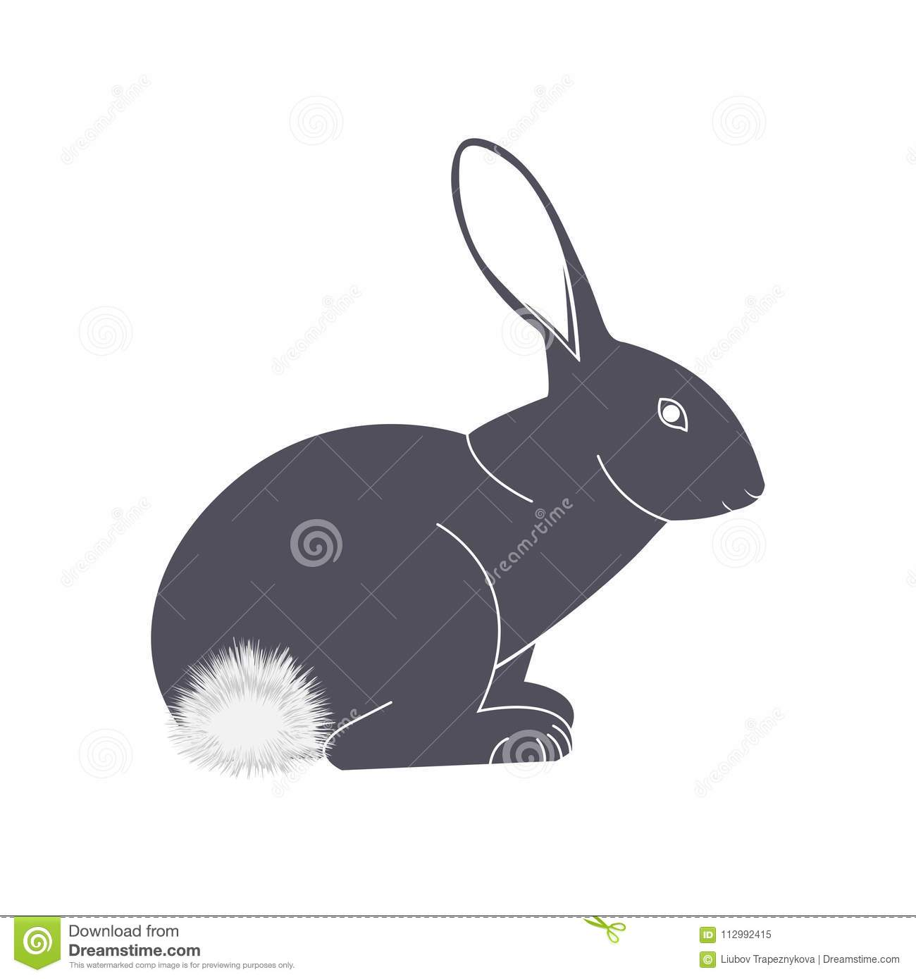 Rabbit with a fluffy tail vector icon.