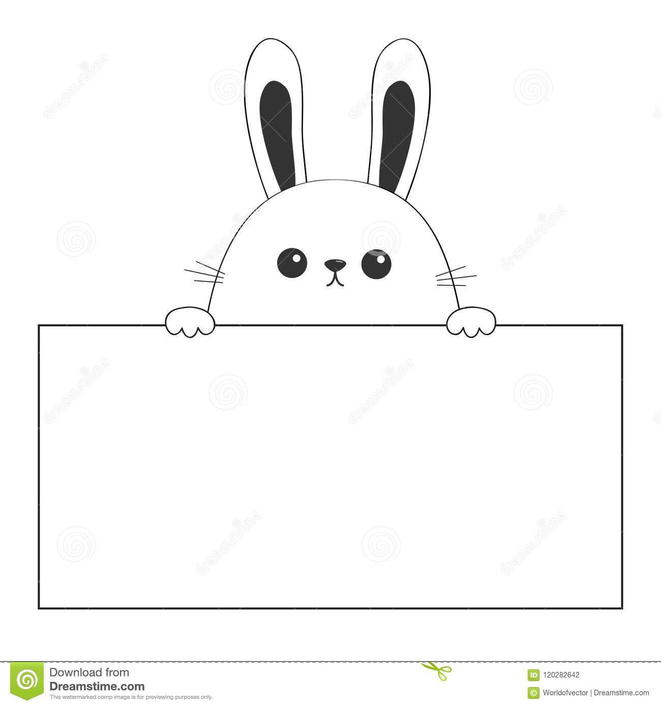 Rabbit Happy Face Head Icon Hanging On Paper Board Template Paw Hands Contour Line