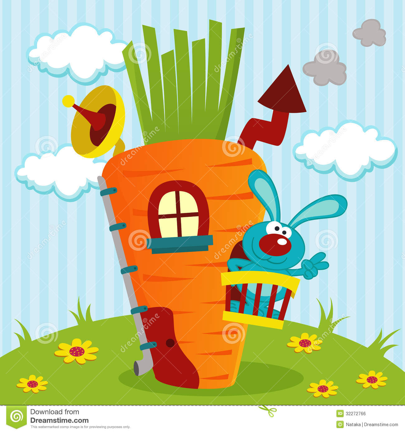 Rabbit In House Of Carrots Royalty Free Stock Image - Image: 32272766