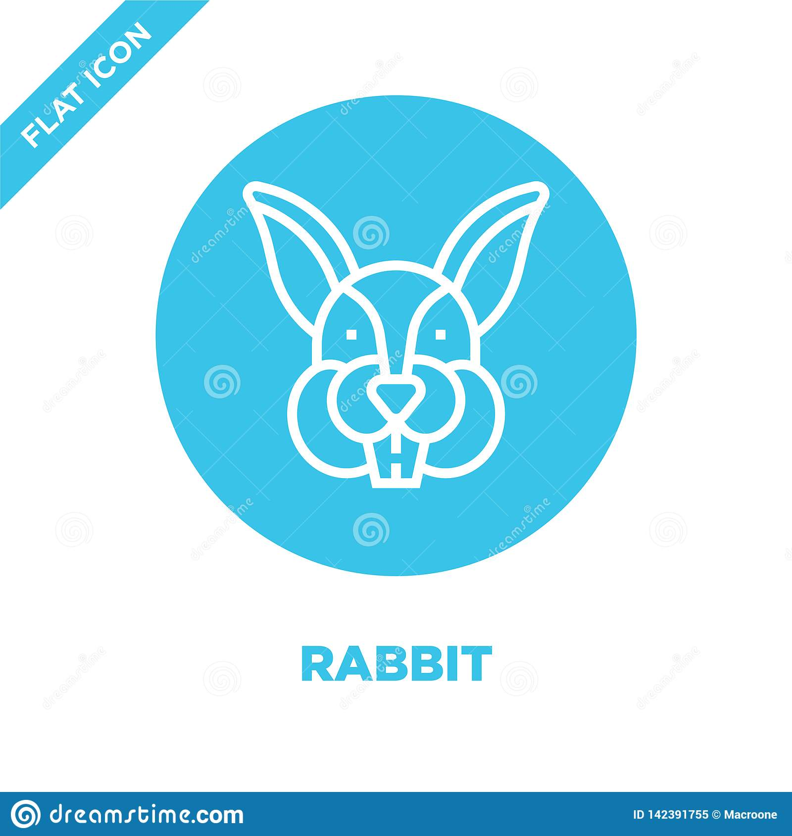 rabbit icon vector from animal head collection. Thin line rabbit outline icon vector  illustration. Linear symbol for use on web