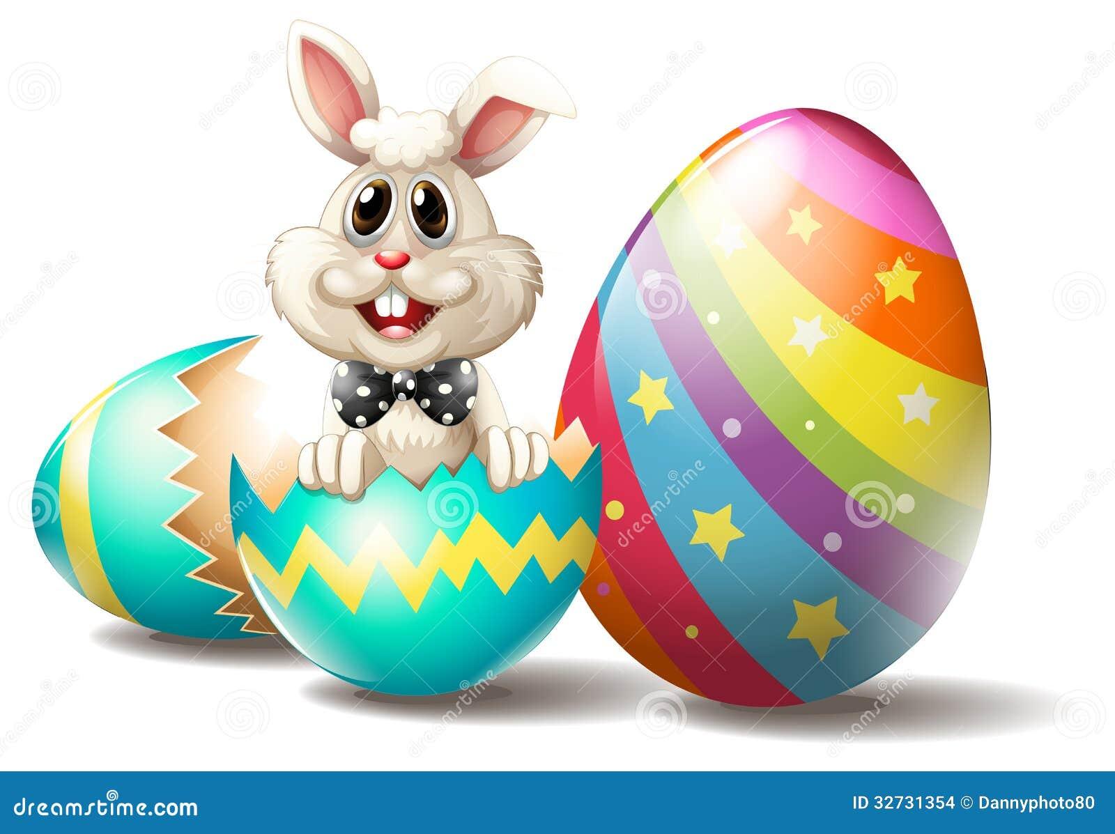 A Rabbit Inside A Cracked Easter Egg Stock Vector