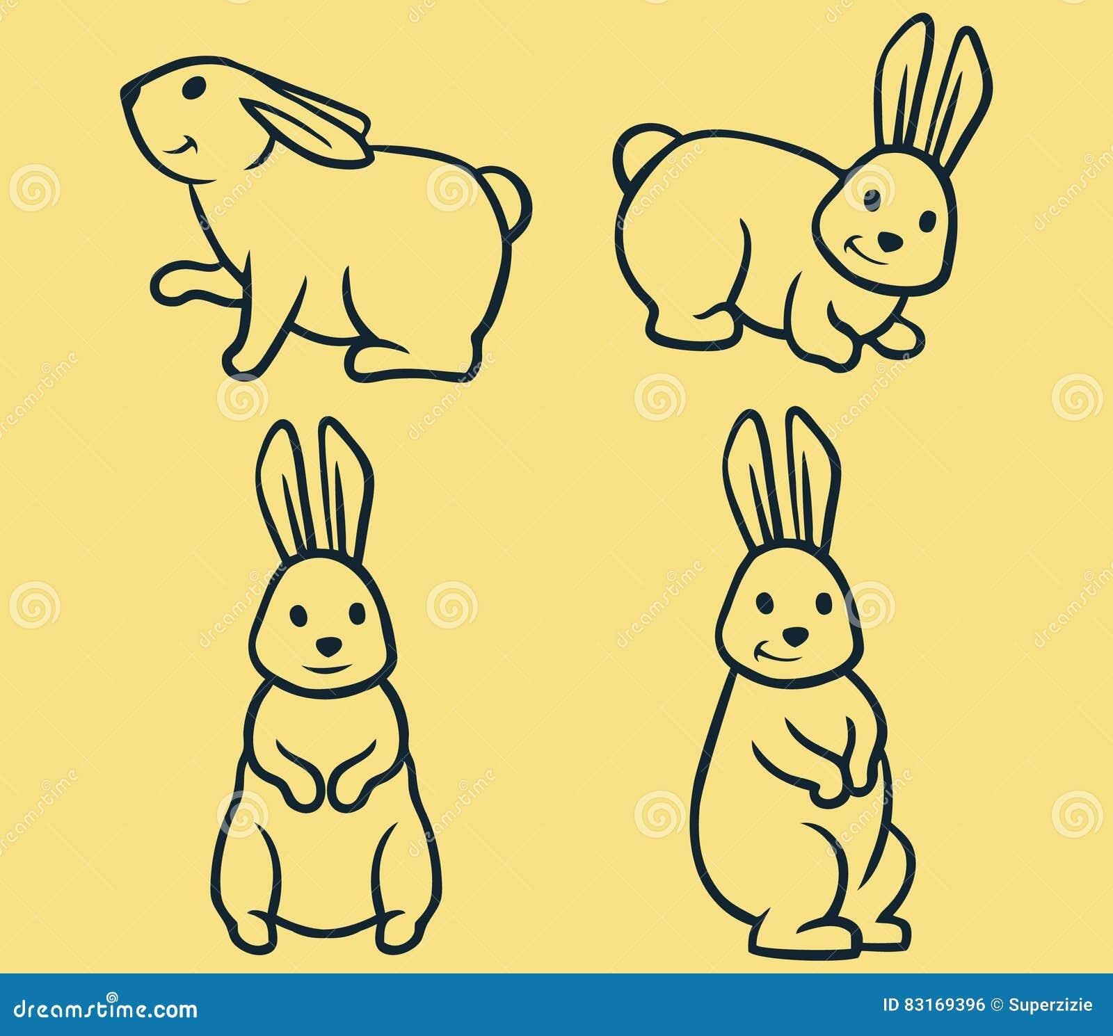 Line Art Vector Illustrator : Rabbit line art stock vector image