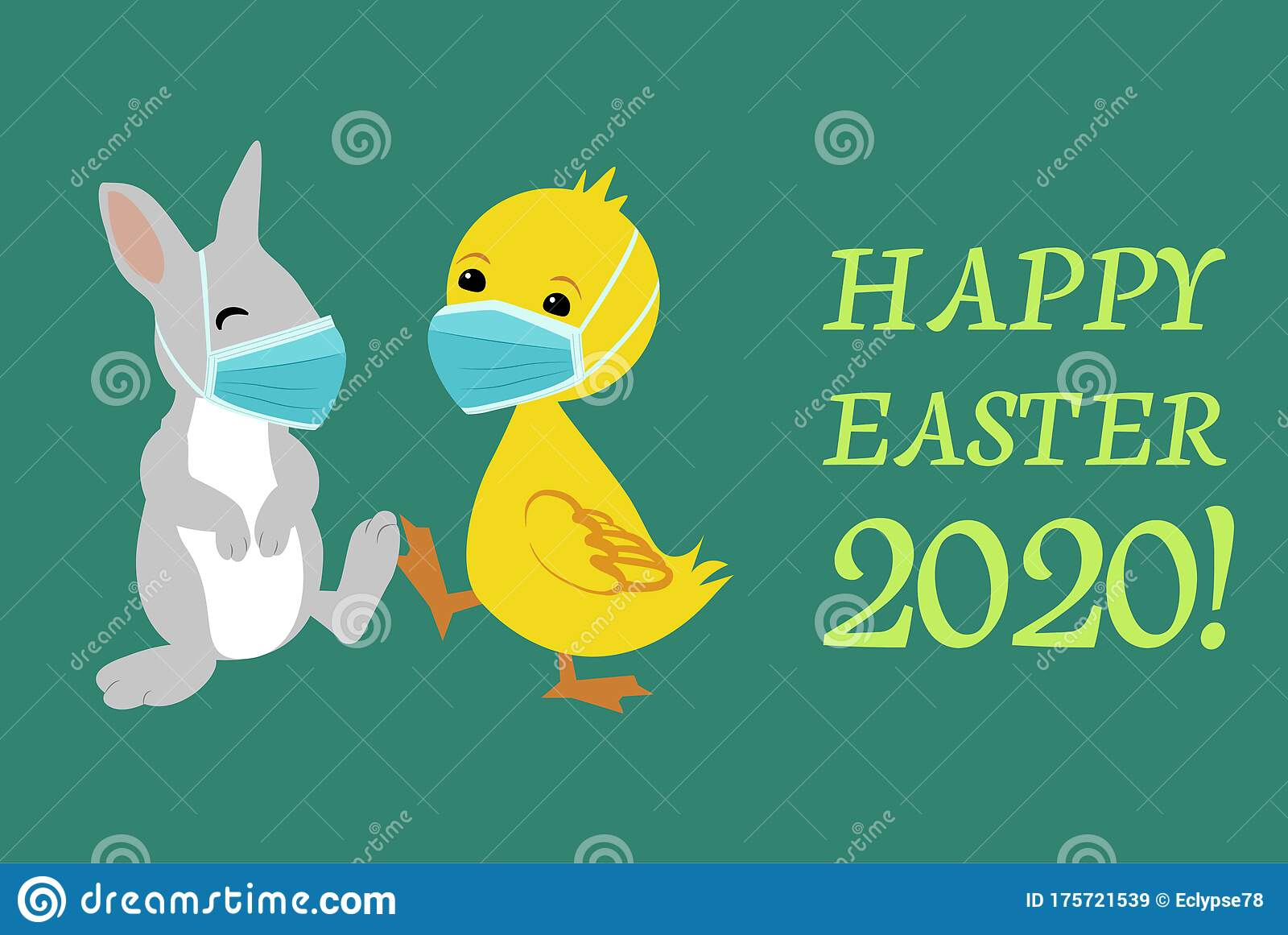 Easter Bunny And Duck Wearing Face Masks And Giving Foot Shake Stock Vector Illustration Of Bacteria Health 175721539