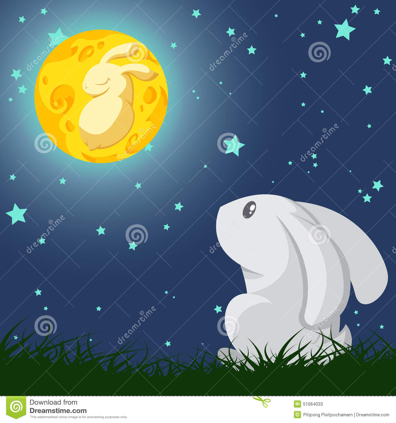 Cartoon vector about gray rabbit look up the yellow rabbit in the moon ...