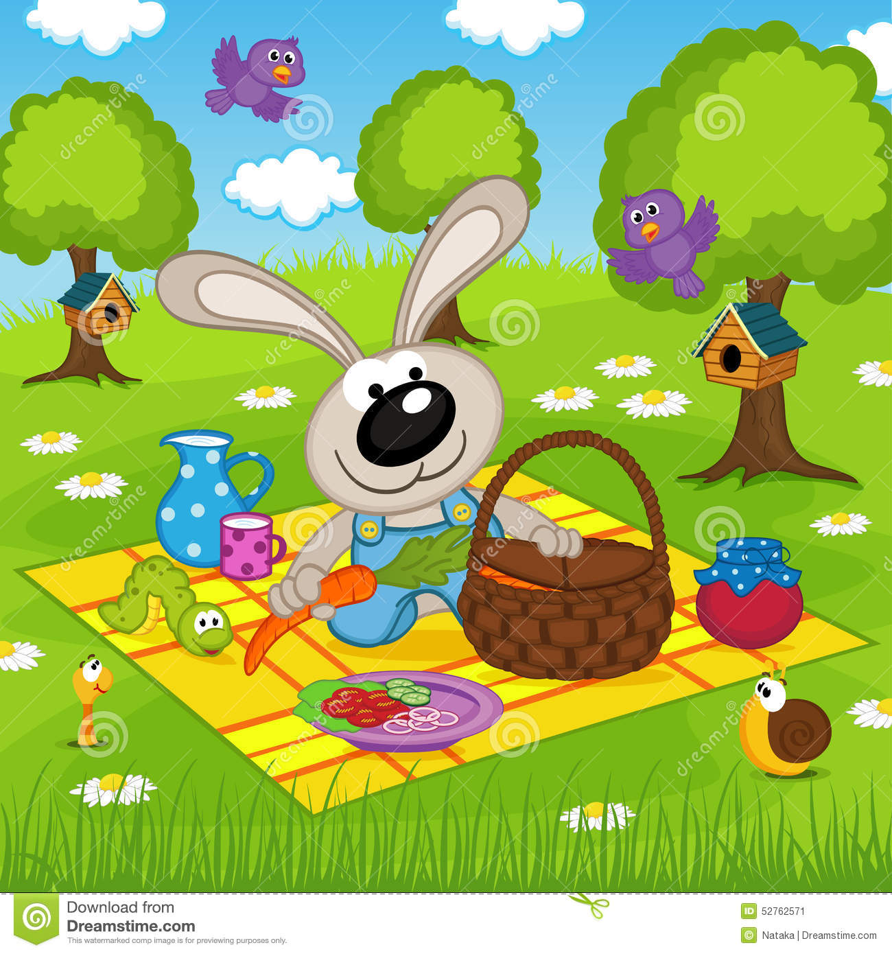 rabbit on picnic in park stock vector image of outdoor
