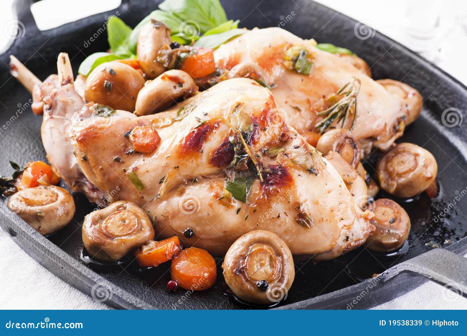 Download Rabbit roasted stock image. Image of piece, mushroom - 19538339