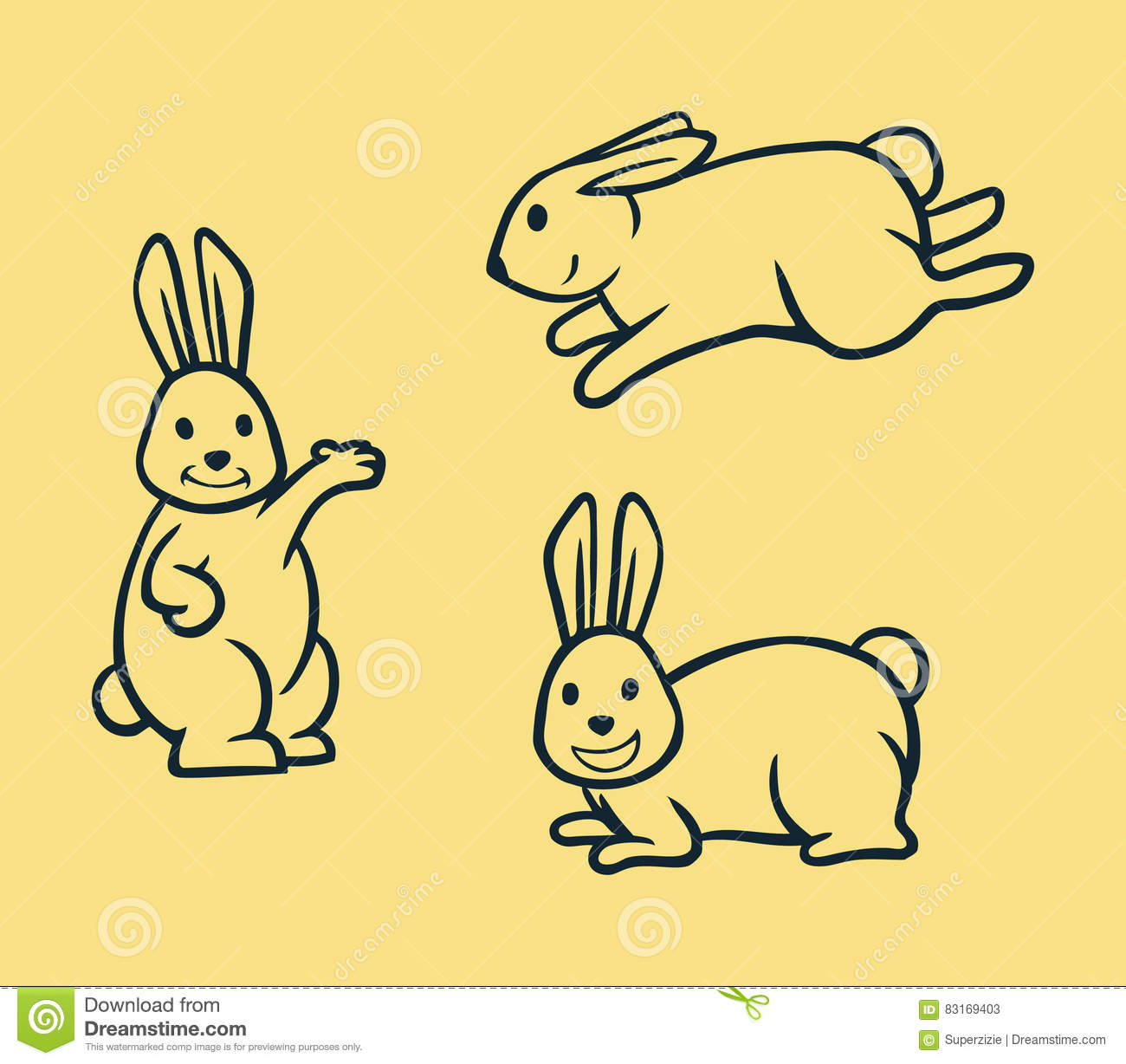 Line Art Vector Illustrator : Rabbit simple line art stock vector image