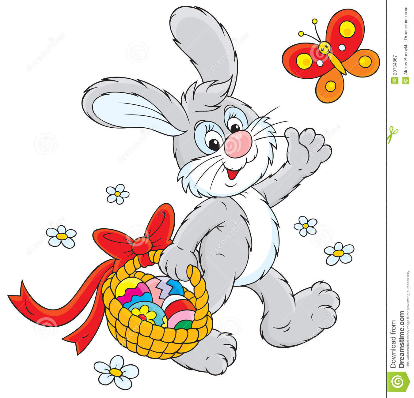 easter bunny with a basket of eggs royalty free stock photography