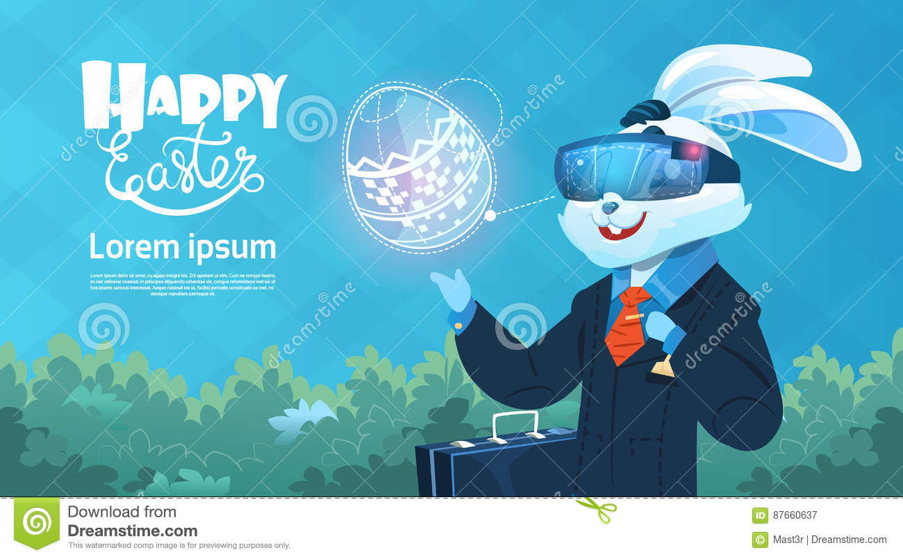 Rabbit Wear Digital Glasses Virtual Reality Decorated Eggs Easter
